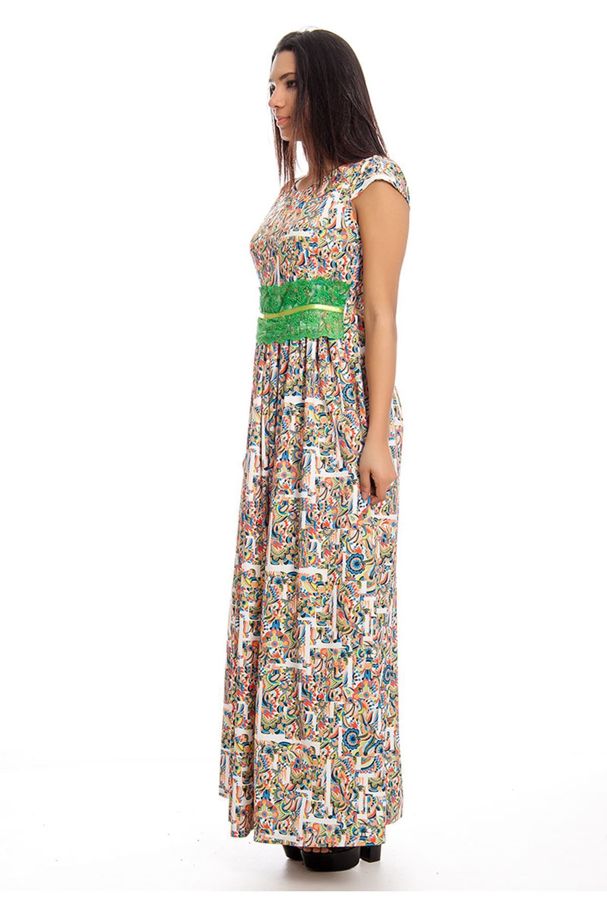 Desenli Dantel Detaylı Yazlık Uzun Elbise J3-129620