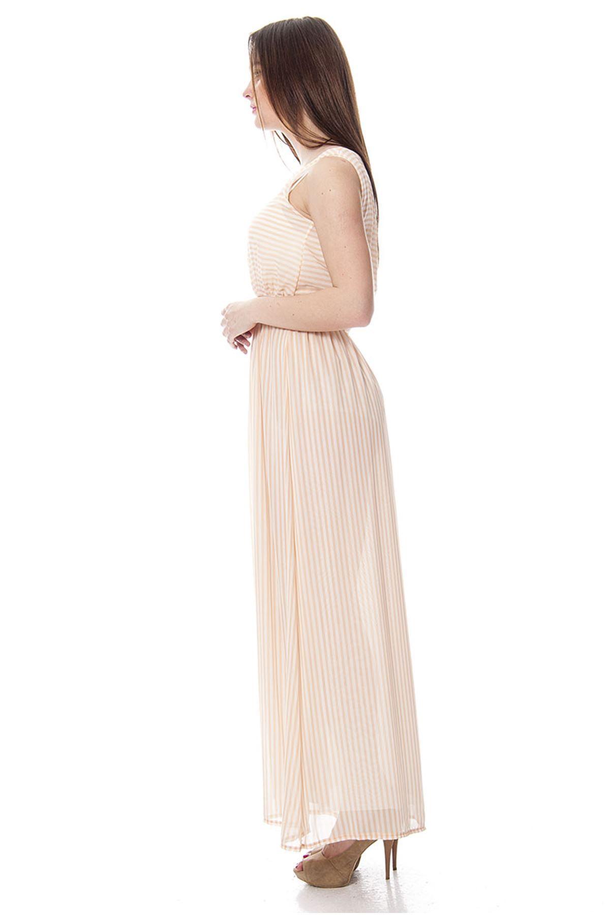 Çizgili Uzun Elbise F9-4275