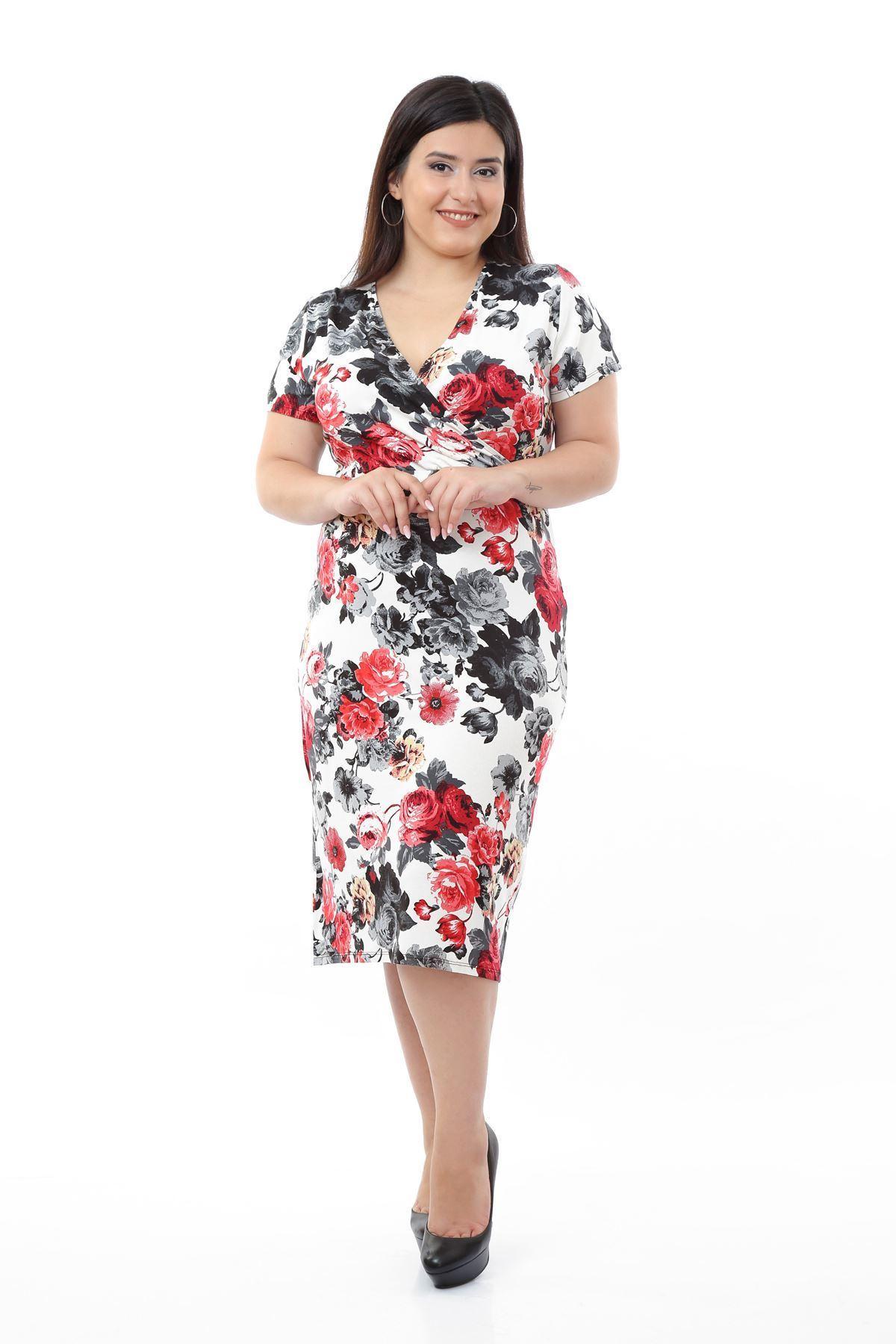 Çiçek Desenli Likralı Viskon Elbise 1D-0663