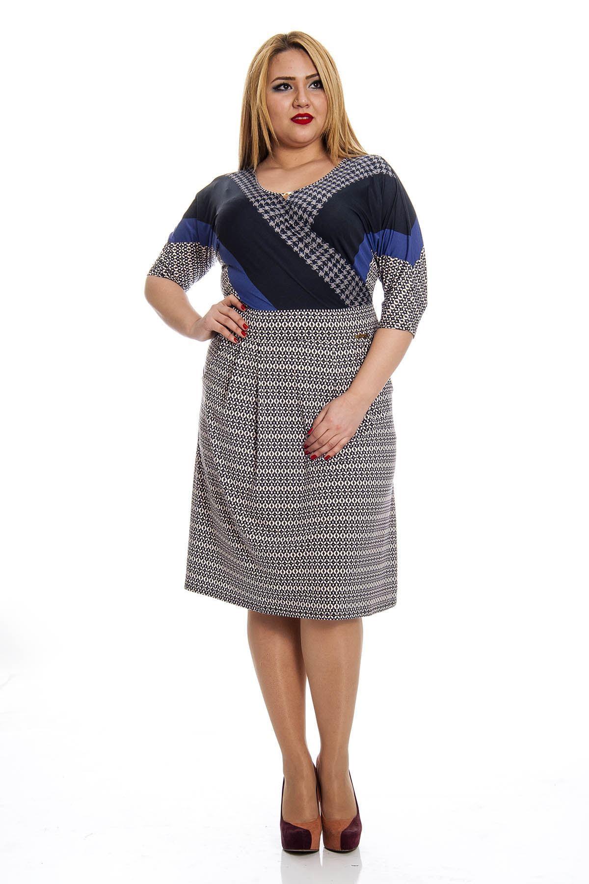 Büyük Beden Sırt Dekolte Kadın Elbise F3-132480