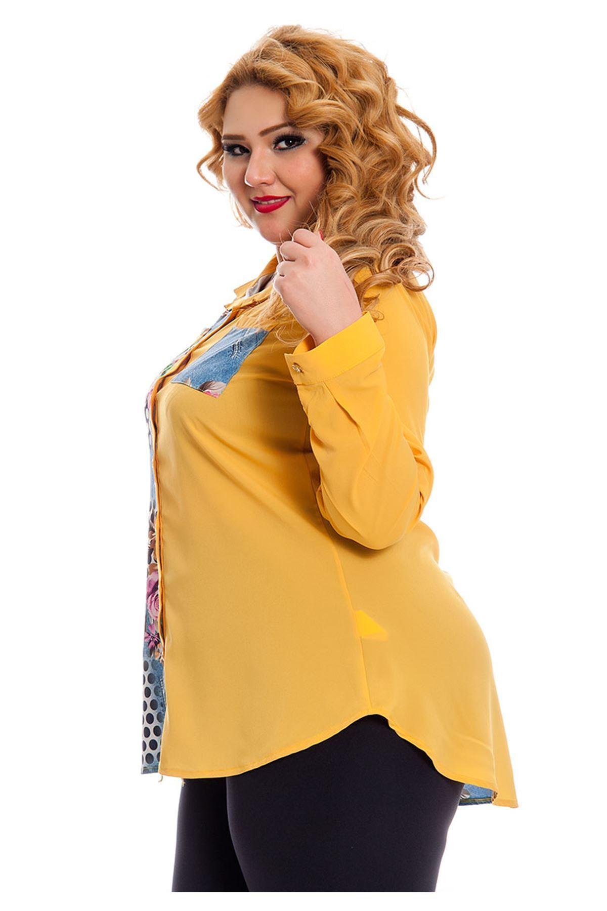 Büyük Beden Sarı Desenli Kadın Tunik G5-130966