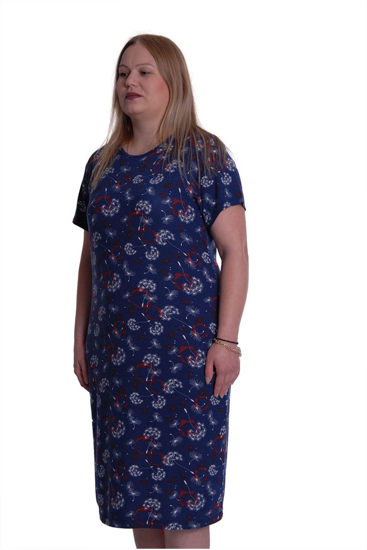 Büyük Beden Lacivert Cepli Elbise 2E-0088