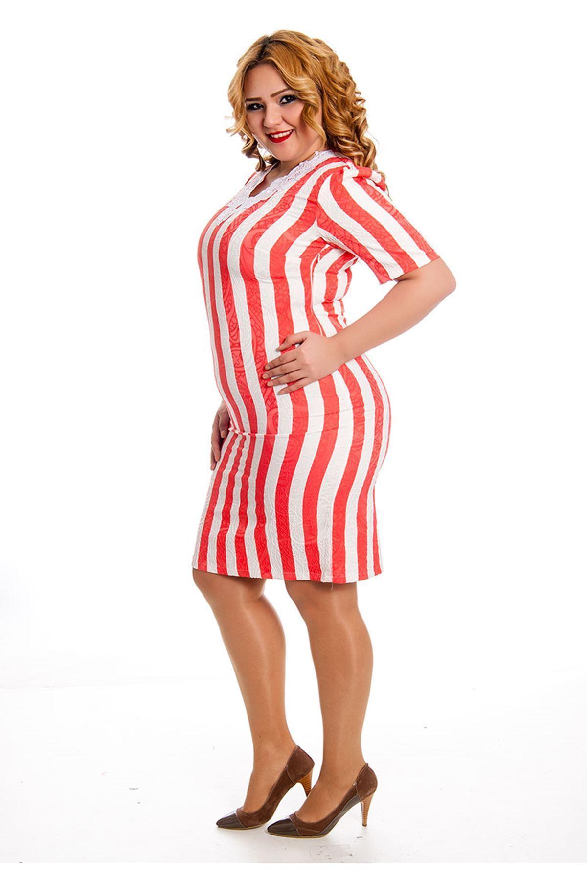 Büyük Beden Kırmızı-Beyaz Çizgili Elbise J3-128600