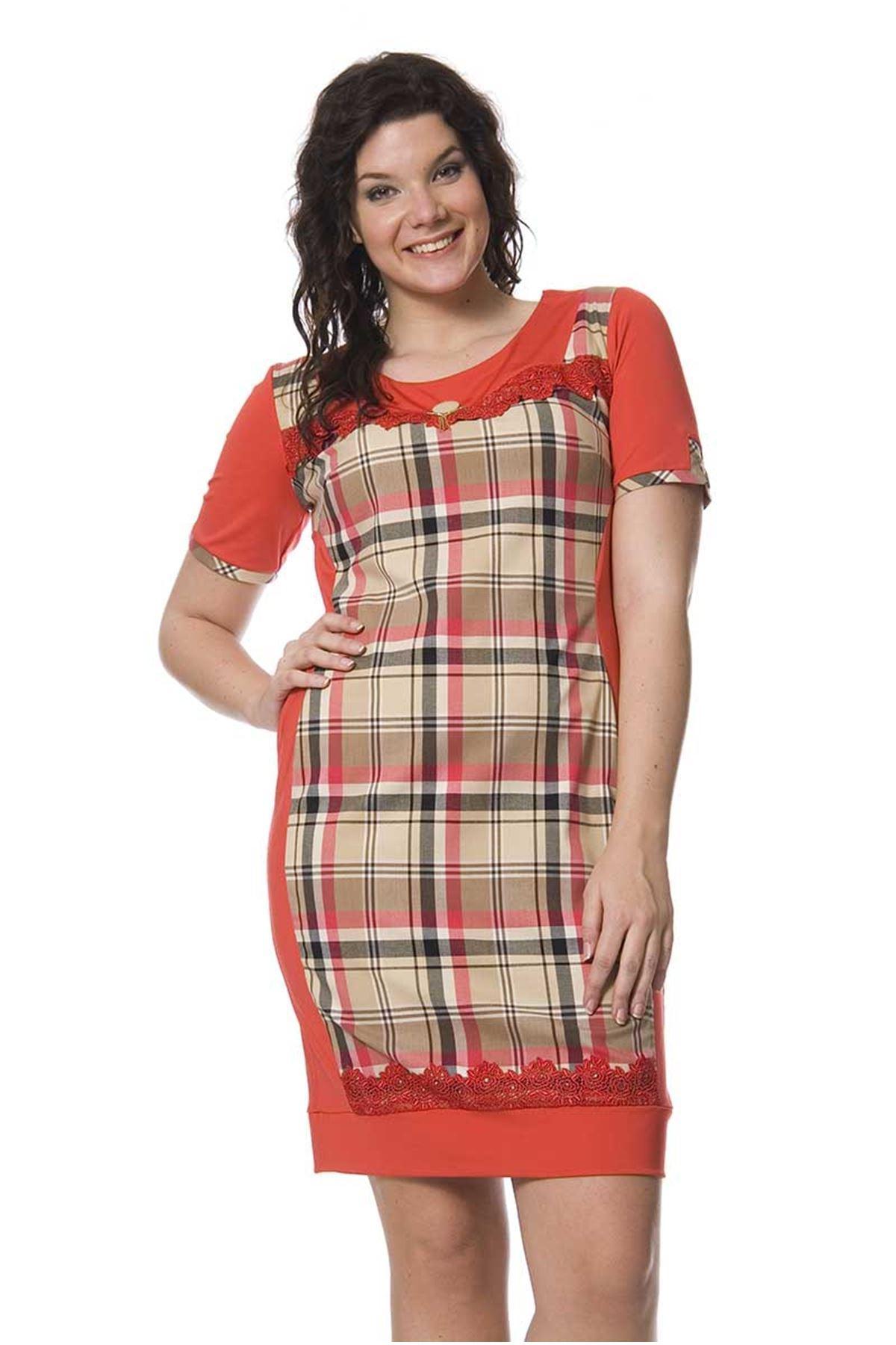 Büyük Beden Kırmızı Desenli Elbise K4-127444