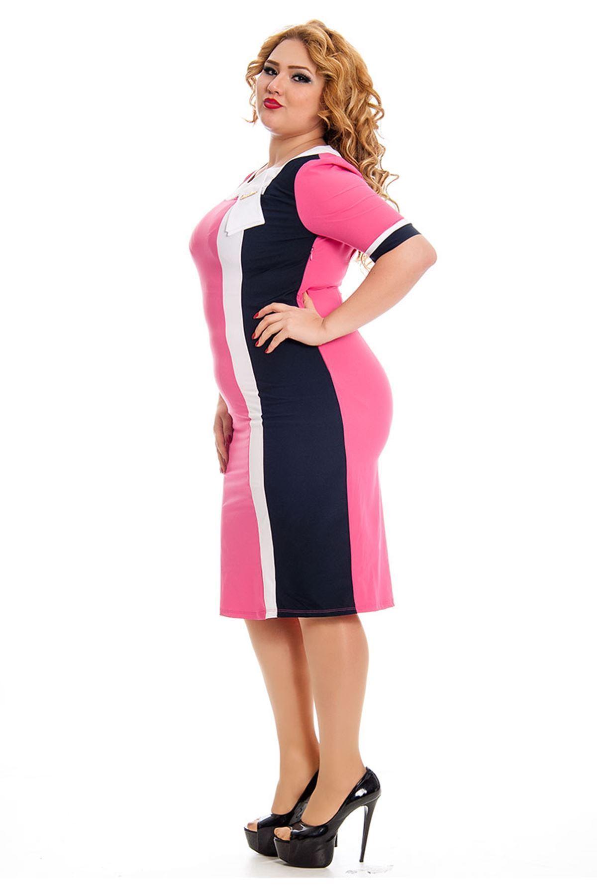 Büyük Beden Fuşya Kadın Elbise J5-130826