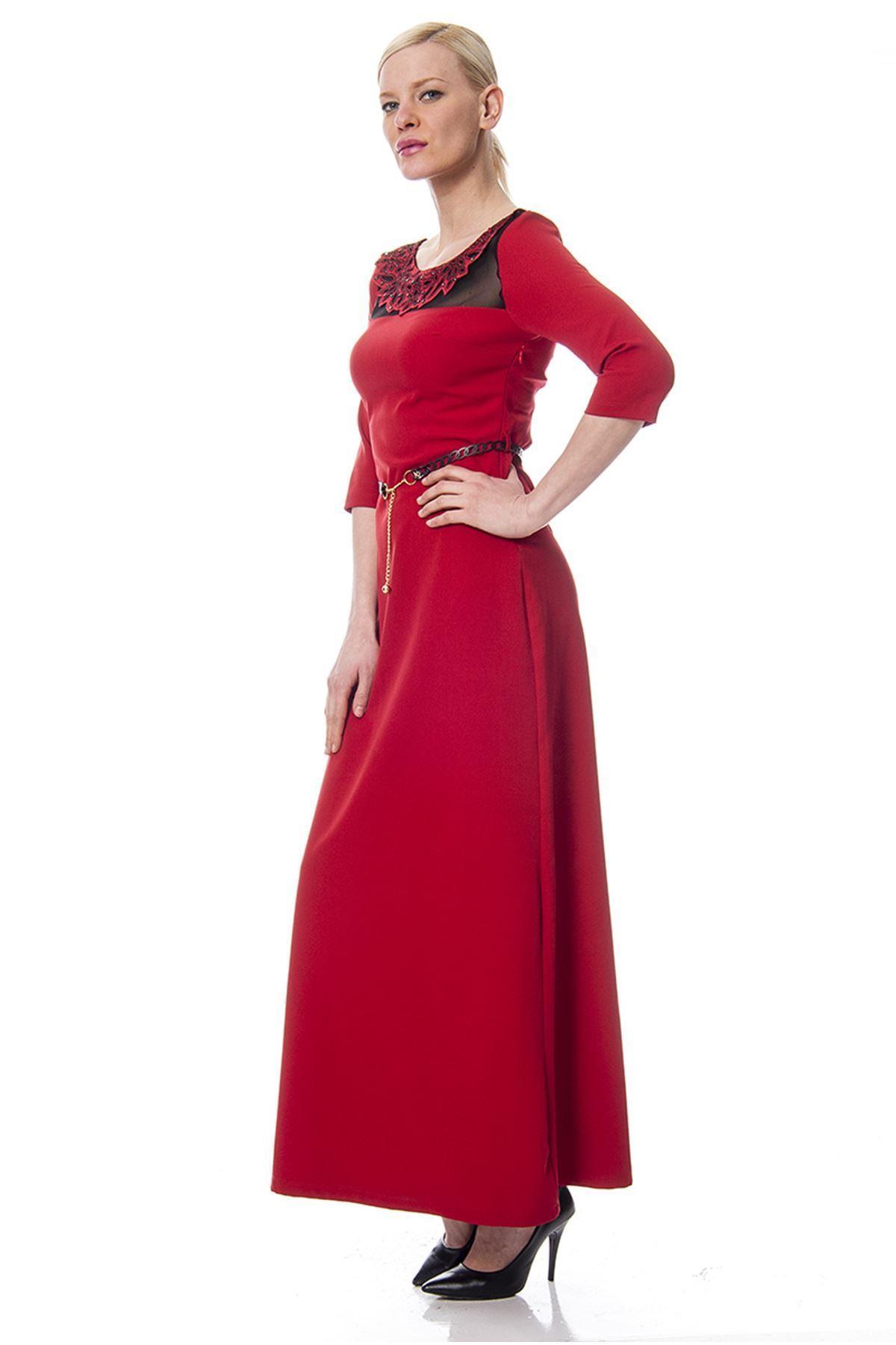 Bordo Yaka İşlemeli Elbise F1-113363