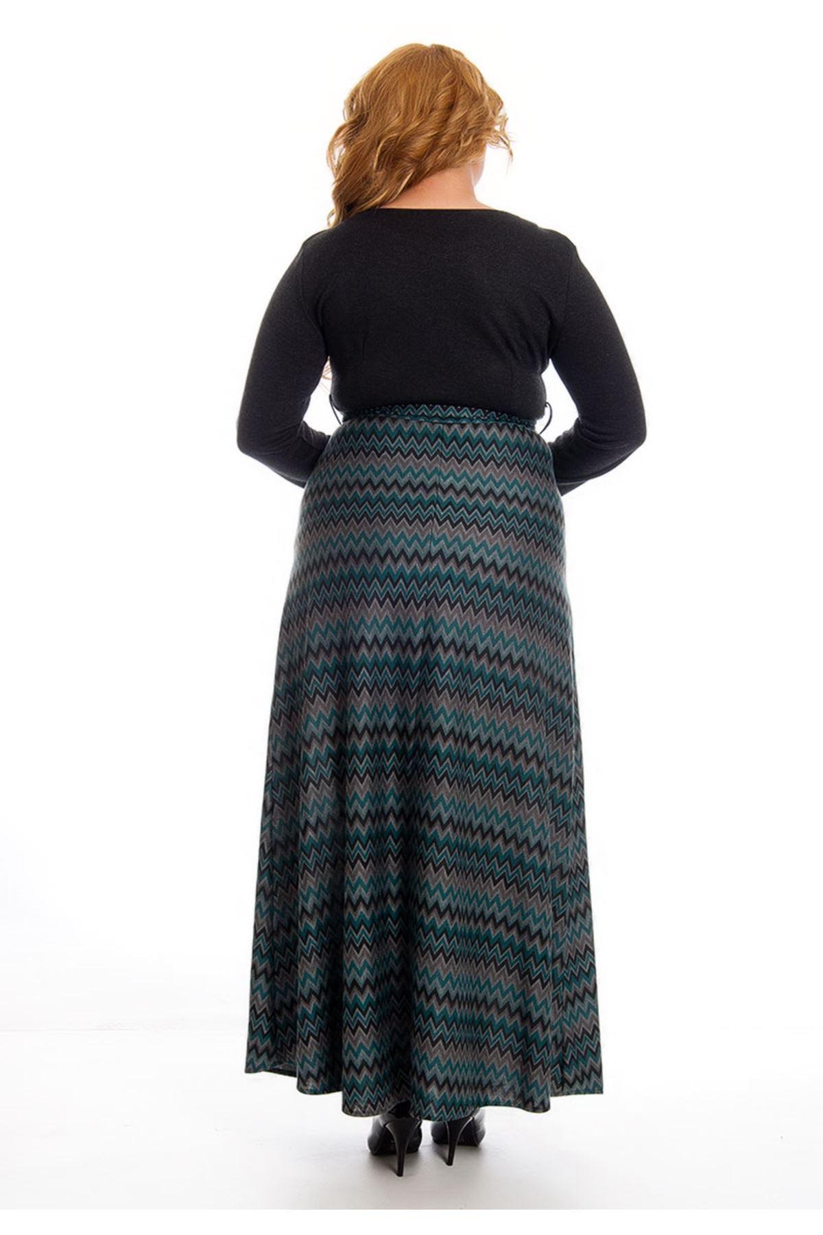 Büyük Beden Antrasit Desenli Yaka Detaylı Uzun Elbise H1-122902