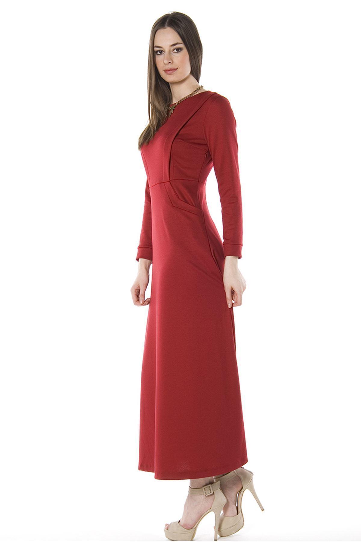 Bordo Uzun Elbise H8-67926