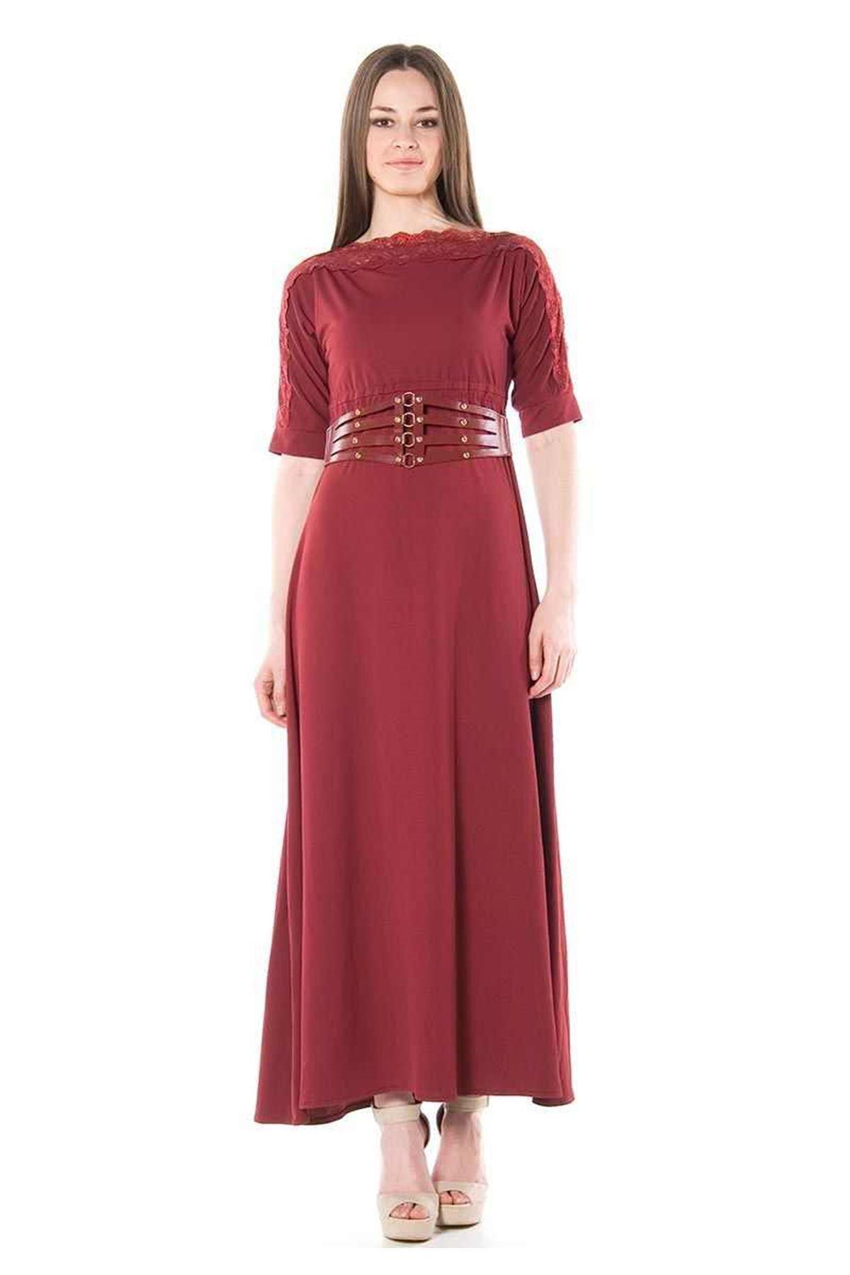 Bordo Uzun Elbise G1-68502