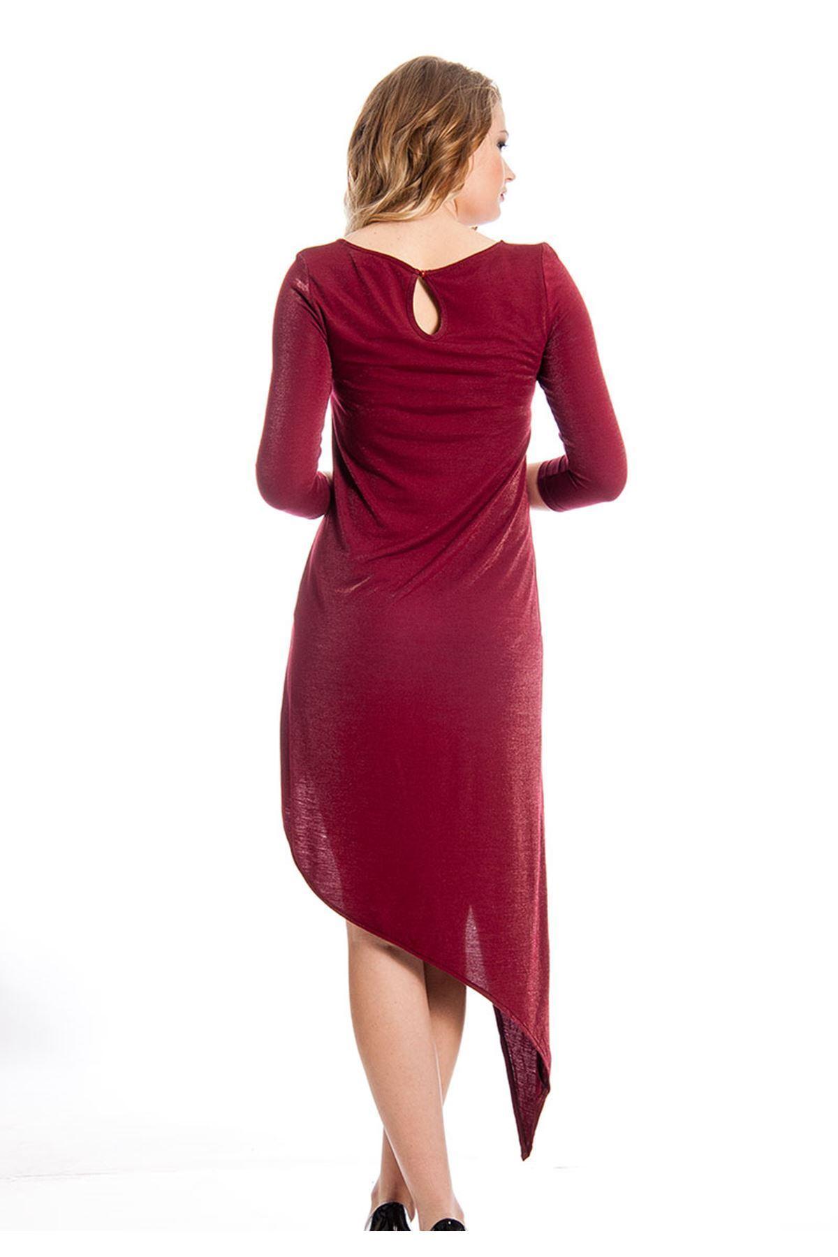 Bordo Taş İşlemeli Kadın Elbise J3-126430