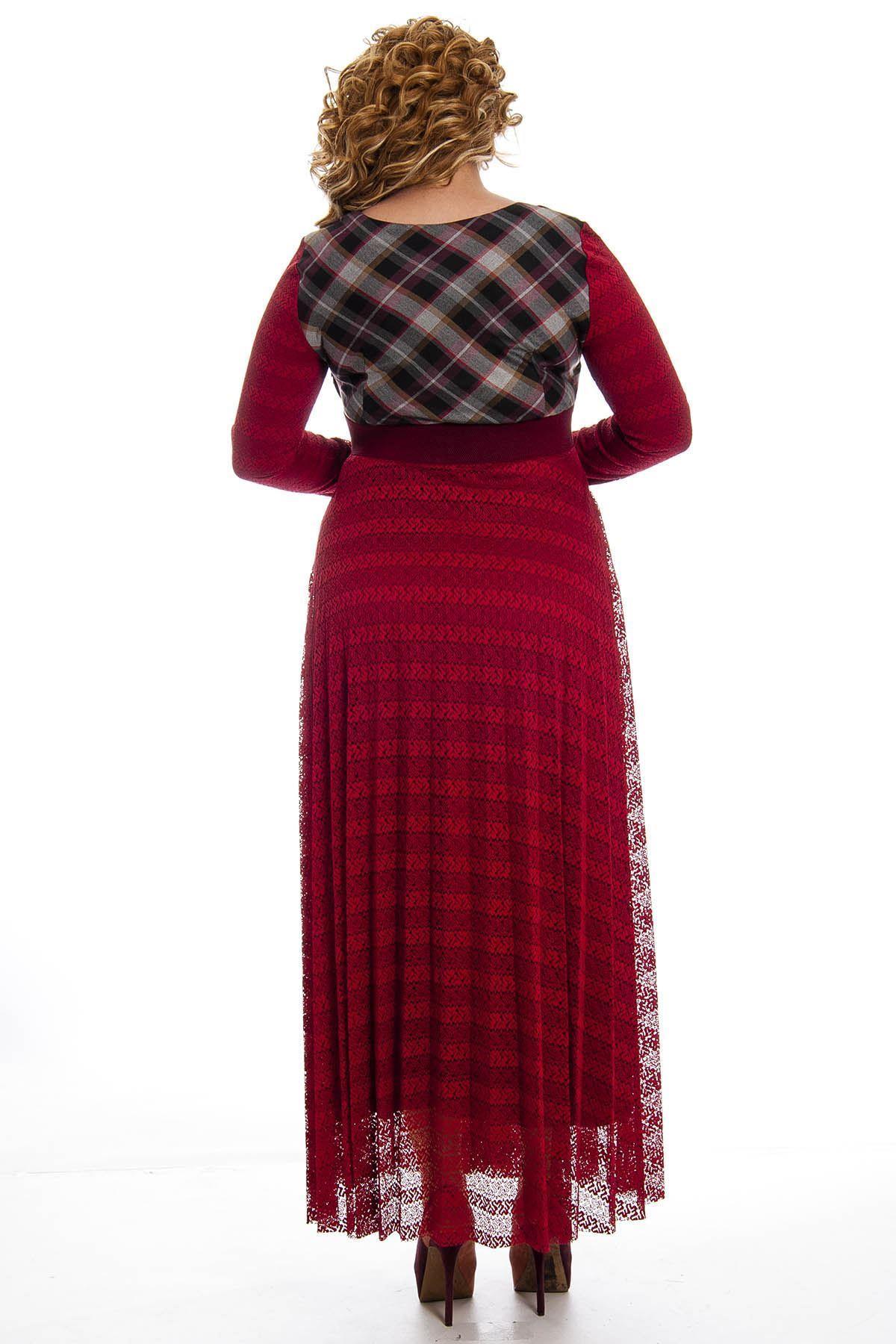 Bordo Dantelli Kadın Uzun Elbise H1-124753