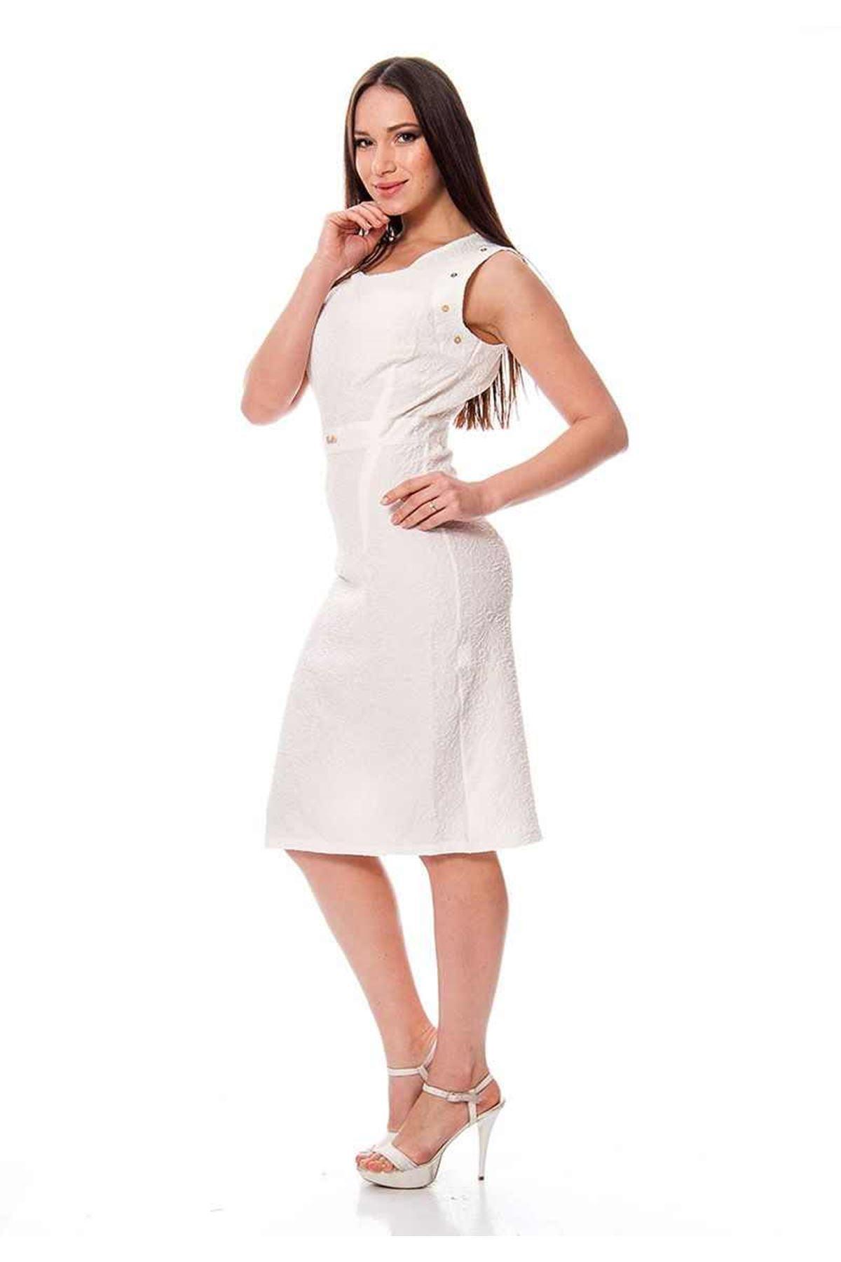 Beyaz Metal Aksesuarlı Kadın Elbise H8-112551