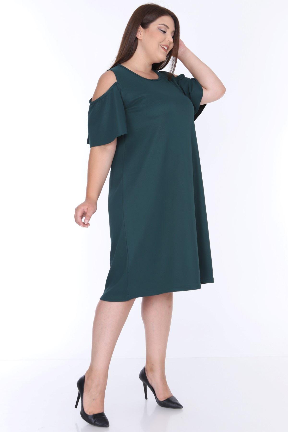 Açık Omuzlu Yeşil Elbise 1B-0644