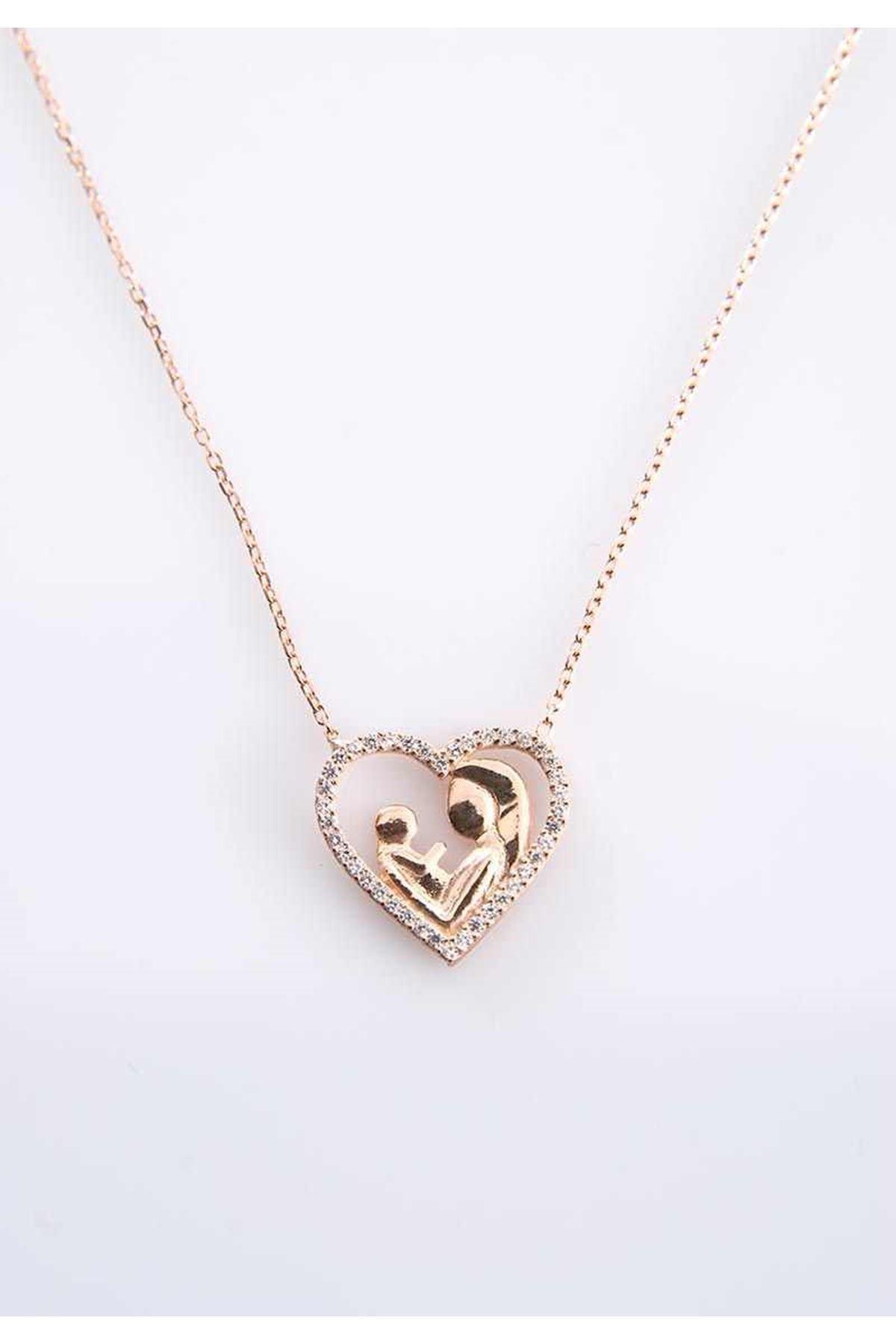 Anne Çocuk Kalp Gümüş Kolye Gk-77423