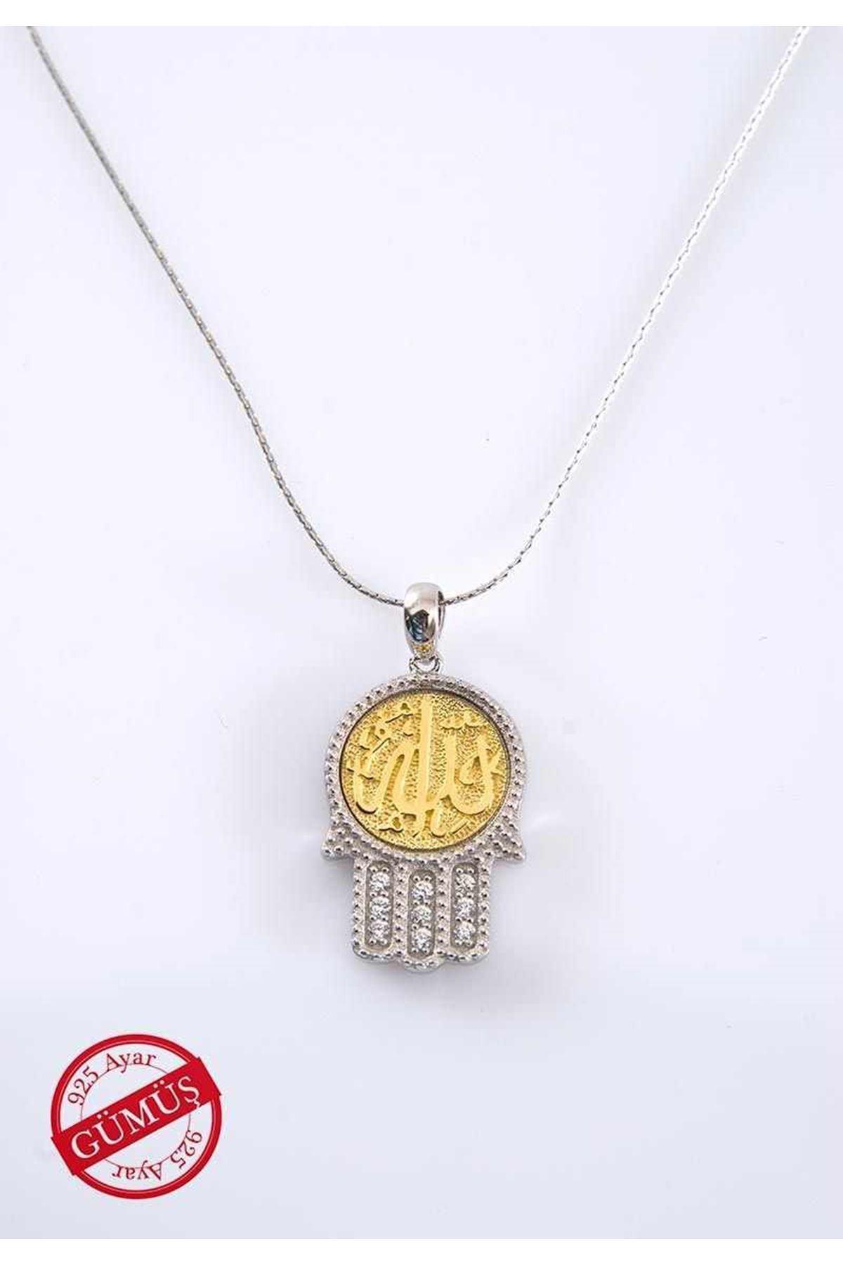 Allah Yazılı Fatmanın Eli Gümüş Kolye Gk-74977