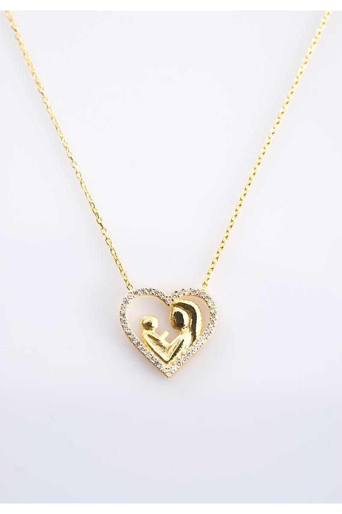 Anne Çocuk Kalp Gümüş Kolye Gk-77422