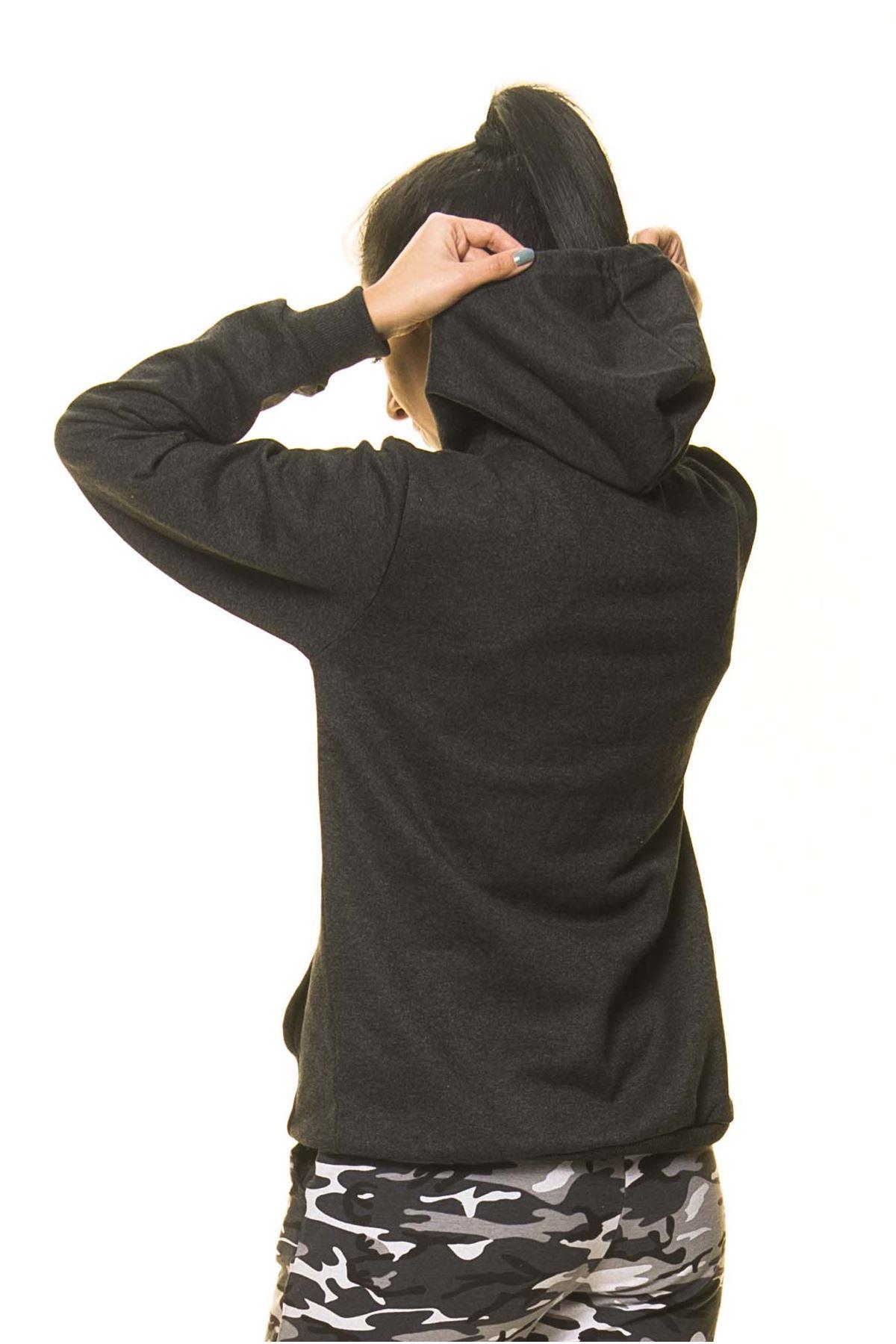 Unisex Antrasit Kanguru Cep Kapüşonlu Boyfriend Örme Sweatshirt 4D-2086