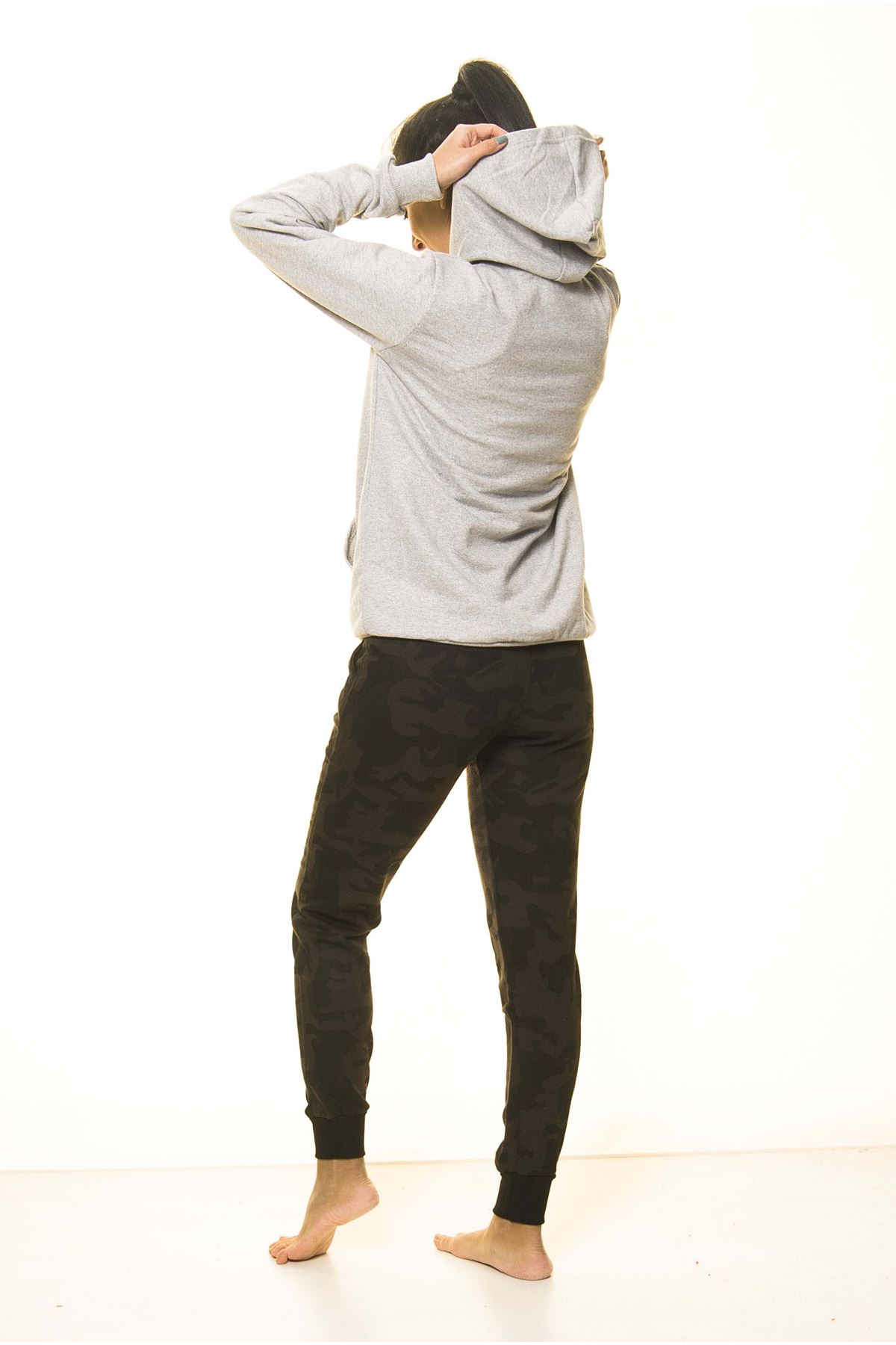 Unisex Gri Kanguru Cep Kapüşonlu Boyfriend Örme Sweatshirt 4D-2088