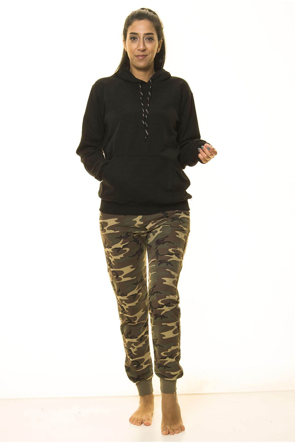 Siyah Kanguru Cep Kapüşonlu Boyfriend Örme Sweatshirt 4D-2090