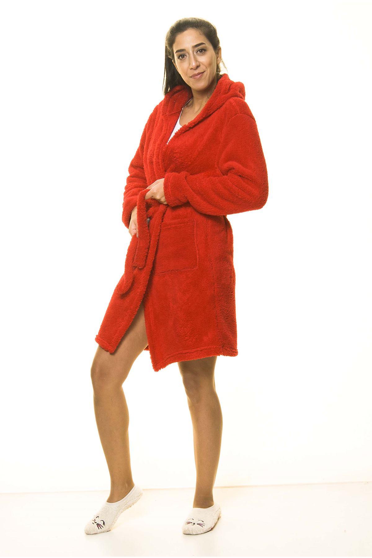 Kırmızı Cepli Peluş Kışlık Sabahlık 15C-2042