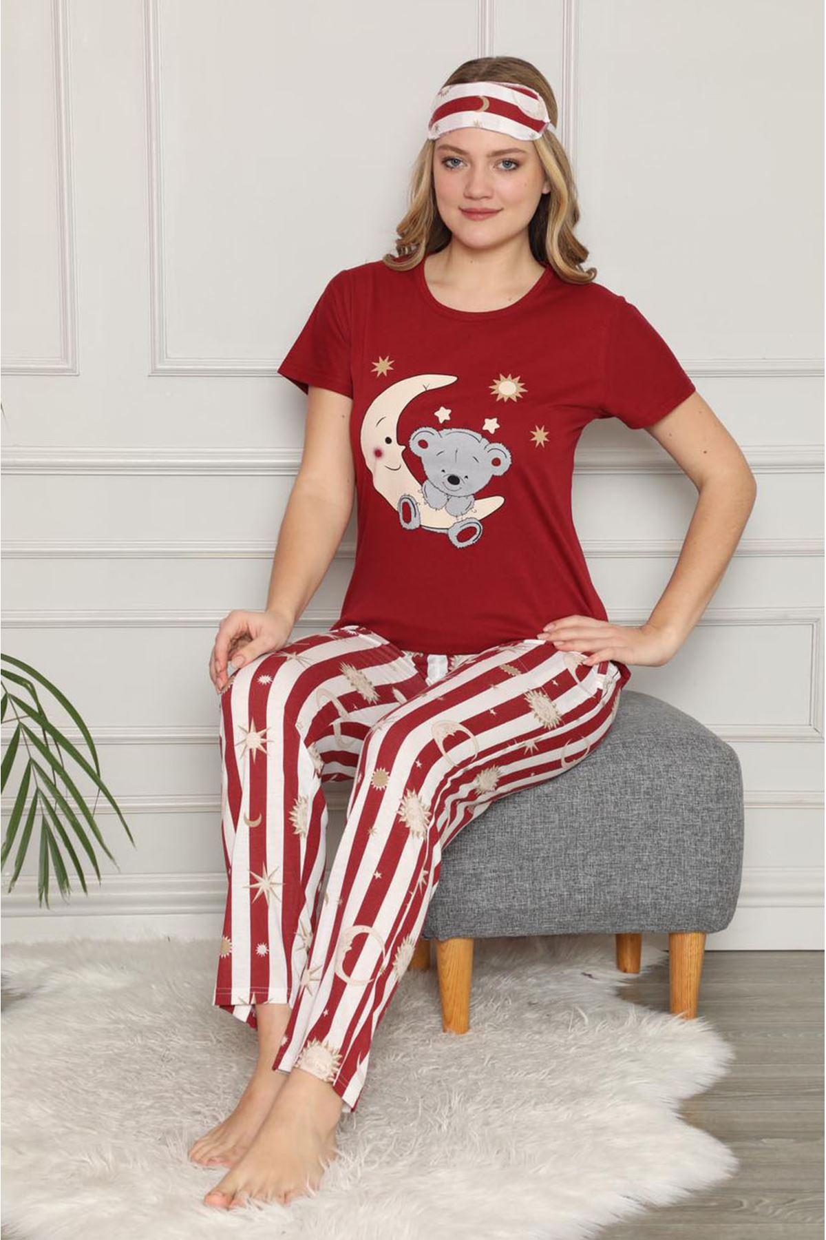 Kadın Bordo Kısa Kol Pijama Takımı 3E-2539
