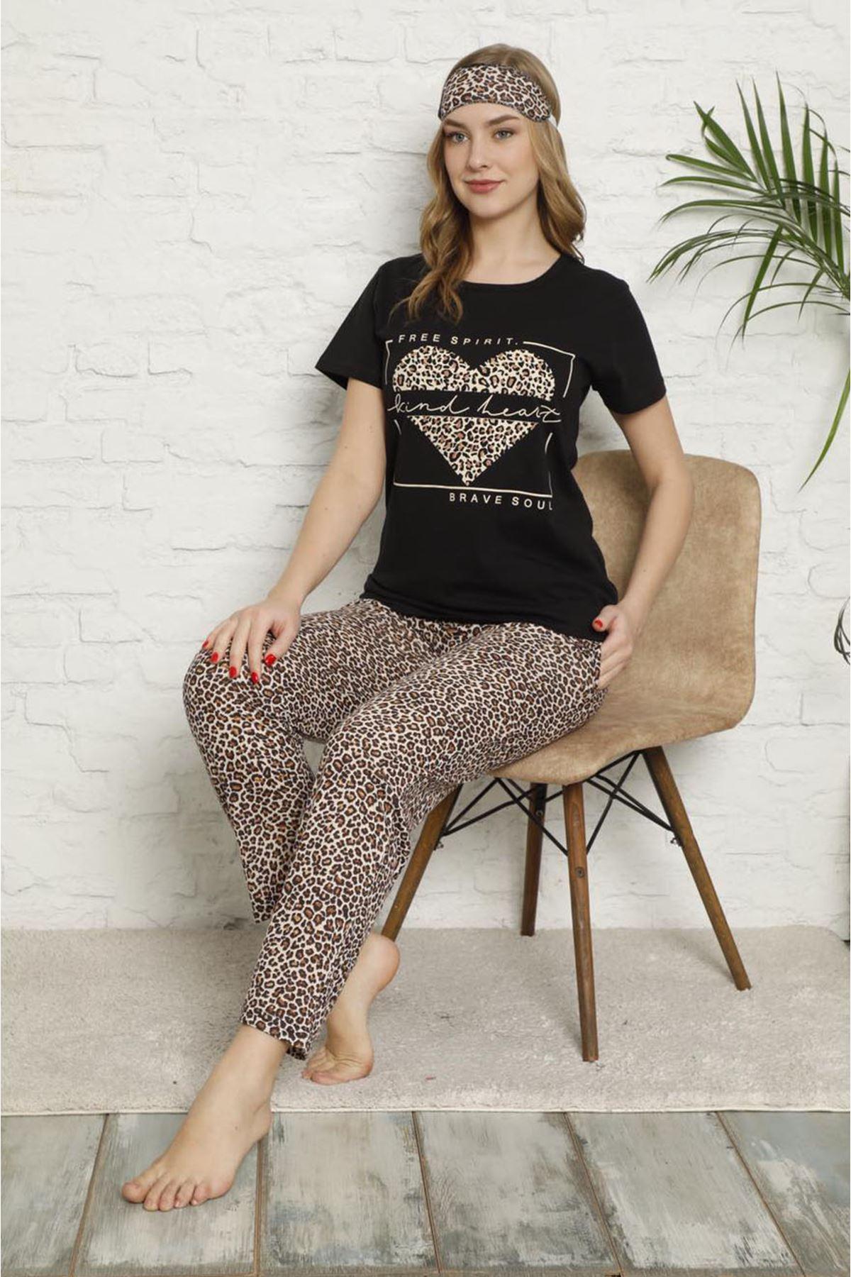 Kadın Leopar Desen Kısa Kol Pijama Takımı 3E-2543