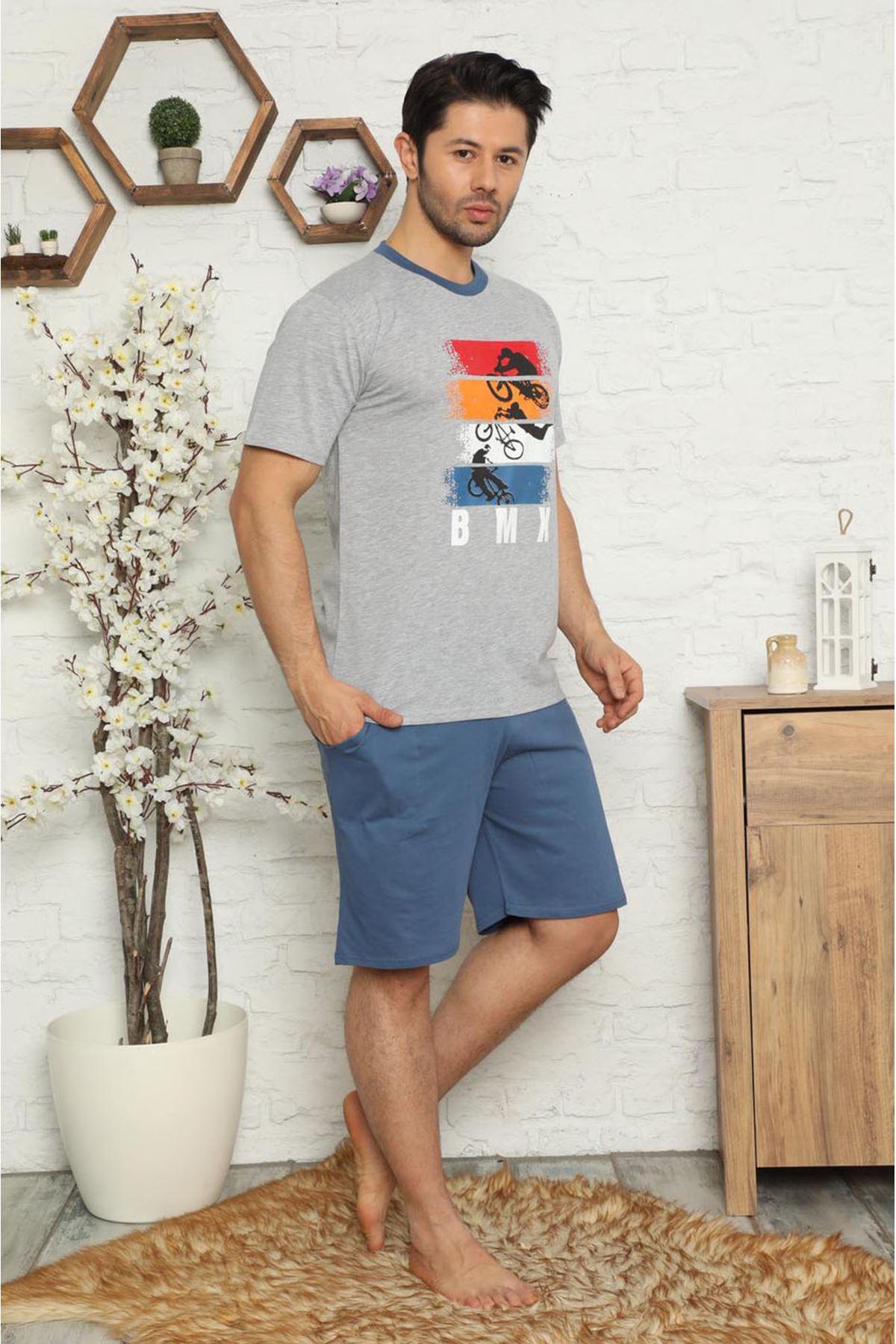 Erkek Şortlu Kısa Kollu Baskılı Pijama Takımı  3E-2517