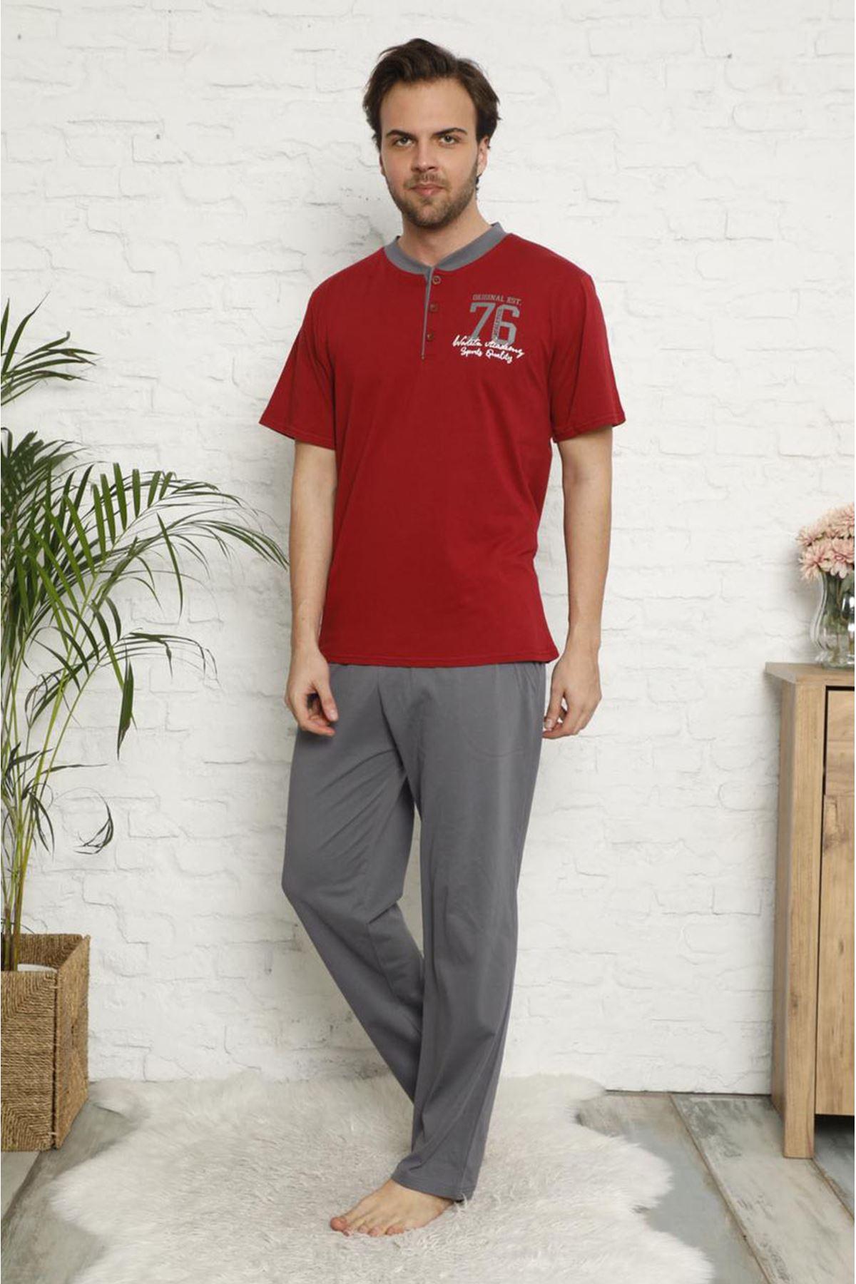 Erkek Bordo 3'lü Pijama Takımı 3E-2544