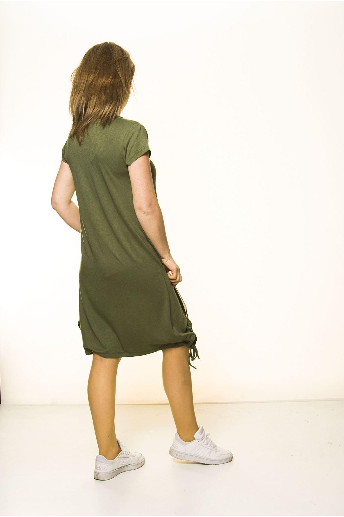 Yeşil Kadın Spor Şık Elbise 5D-2095