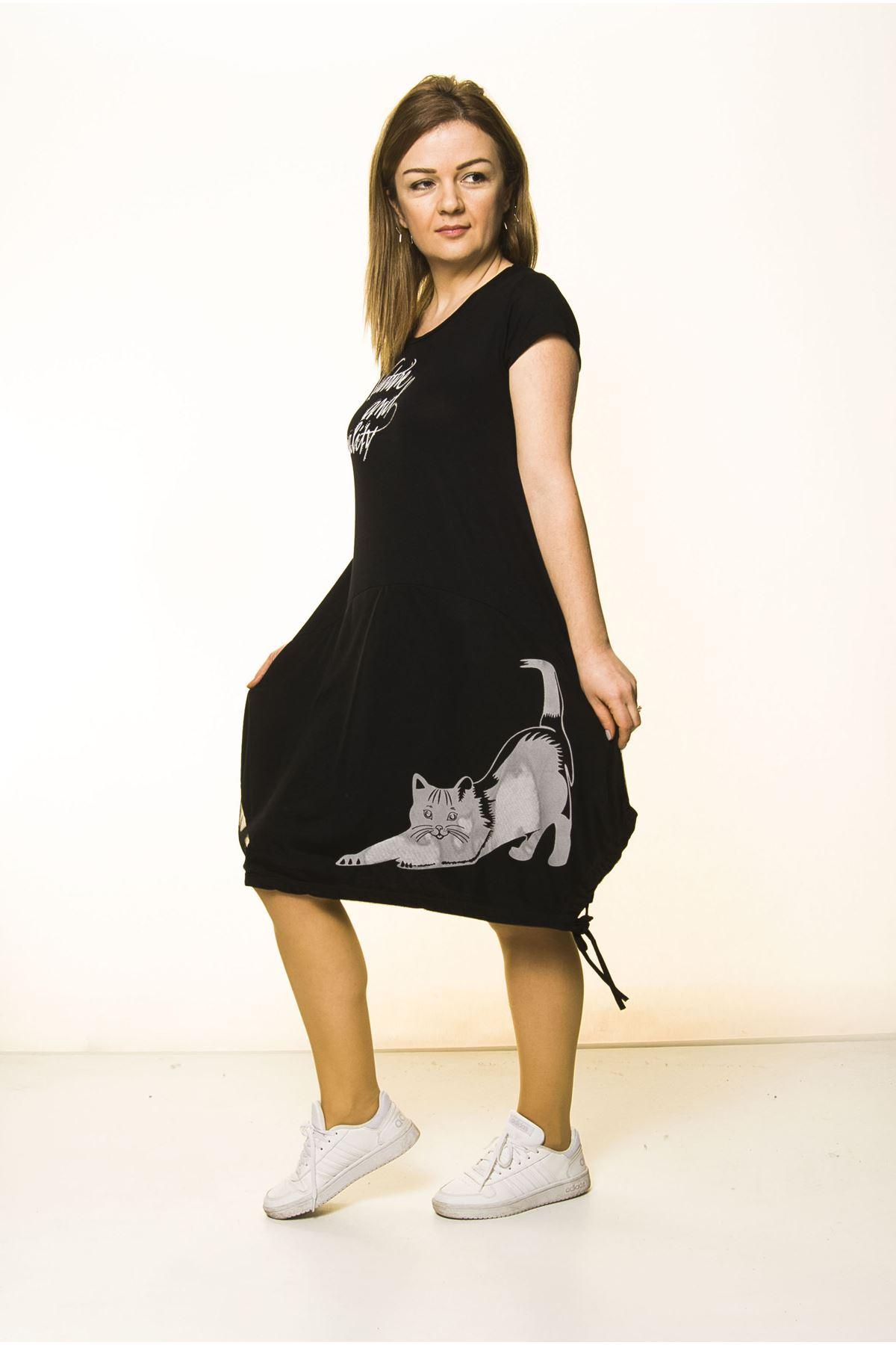 Siyah Kadın Spor Şık Elbise 5D-2094