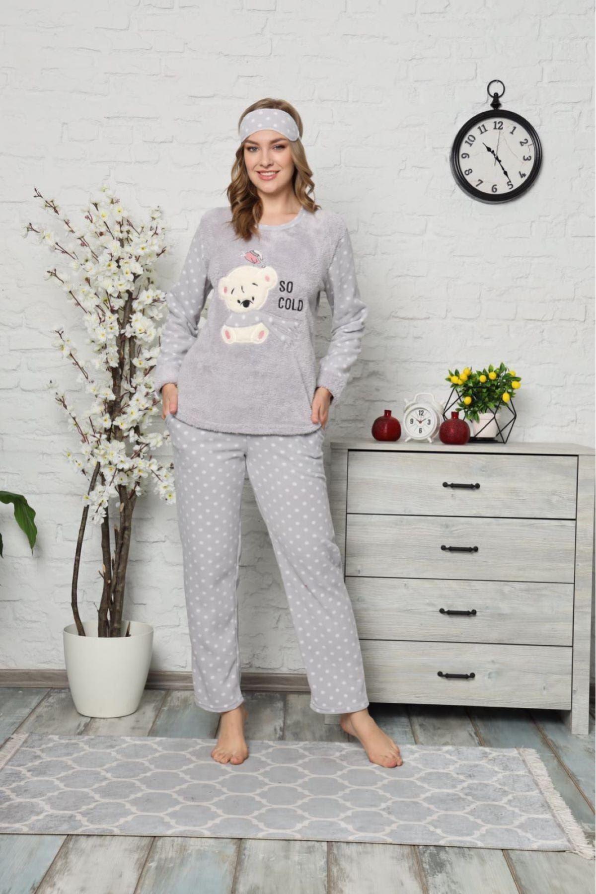 Kadın Gri Puantiyeli Ayıcık Desenli Polar Pijama Takımı 14D-9001