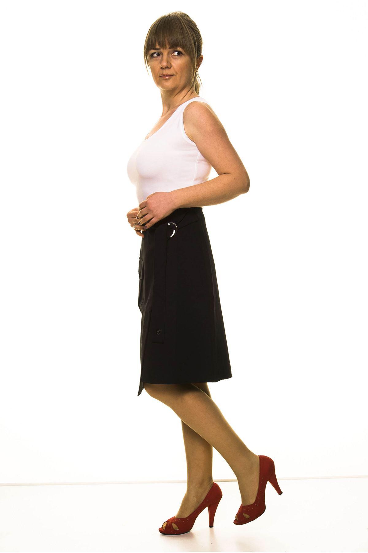Kadın Siyah Asimetrik Kruvaze Etek  4C-3000
