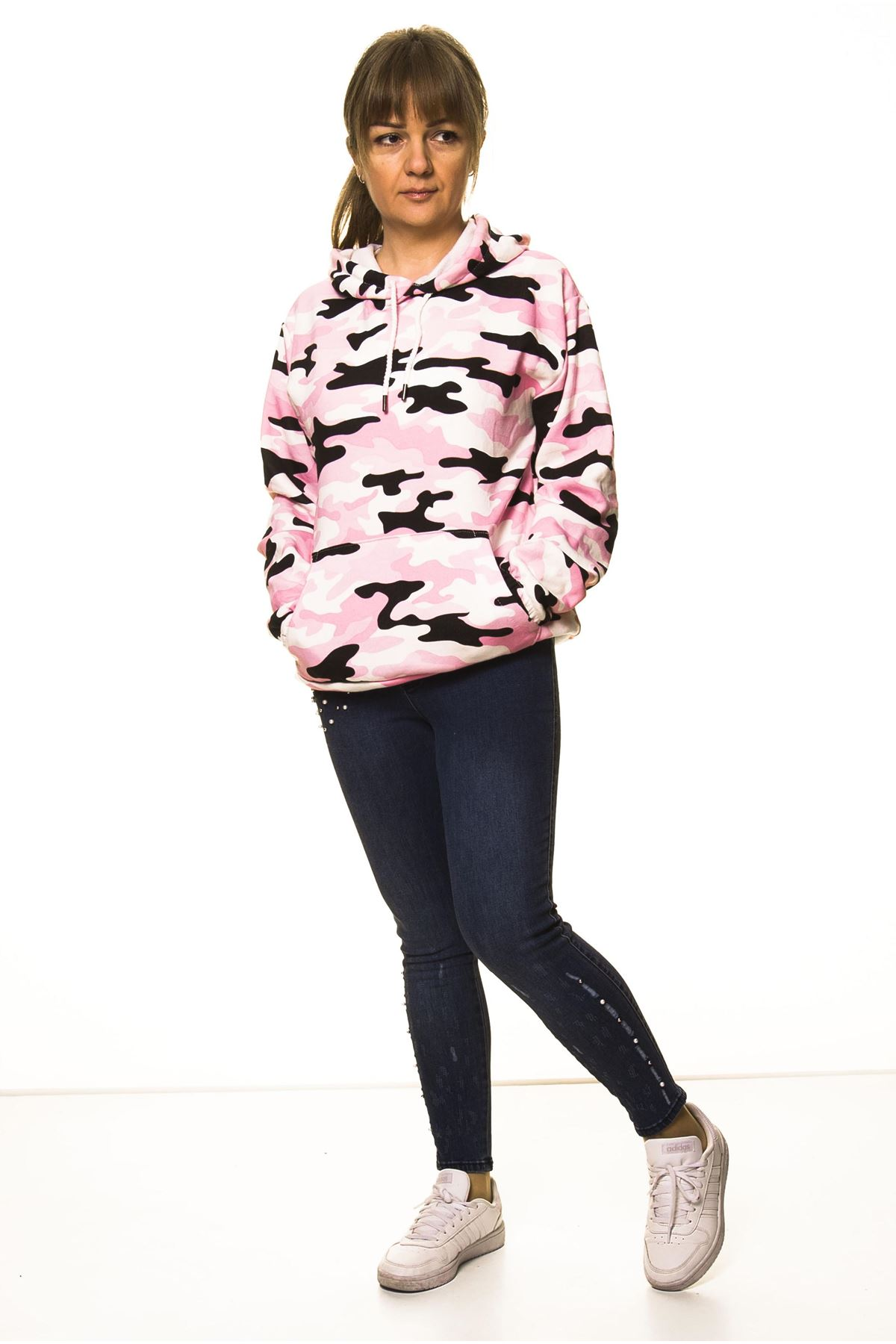 Kadın Pembe Kamuflaj Kapüşonlu Boyfriend  Sweatshirt 14C-3004