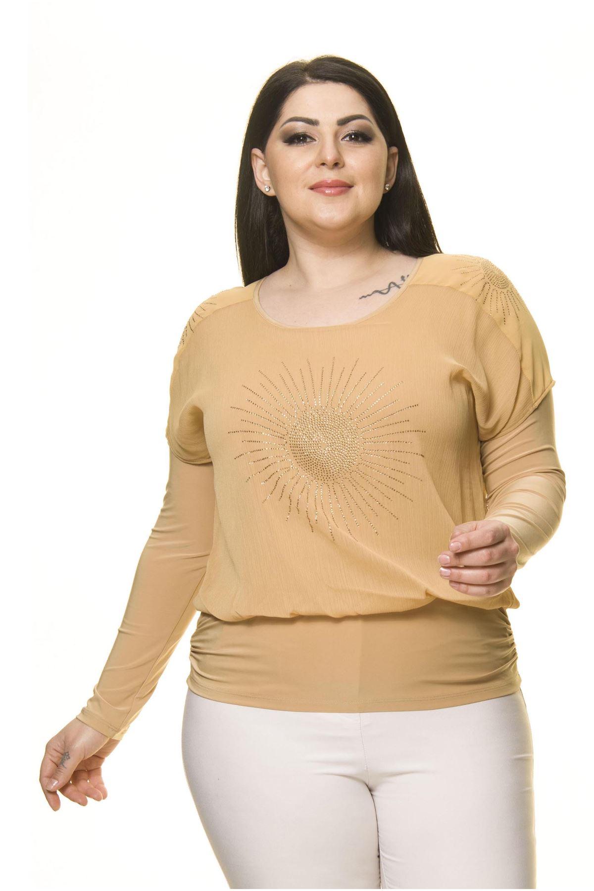 Kadın Büyük Beden Sarı Taş İşlemeli Bluz A7-3031-1