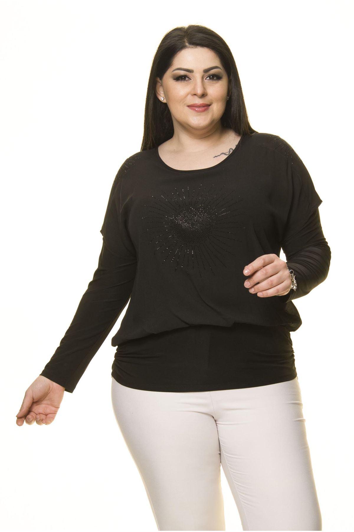 Kadın Büyük Beden Siyah Taş İşlemeli Bluz A7-3031