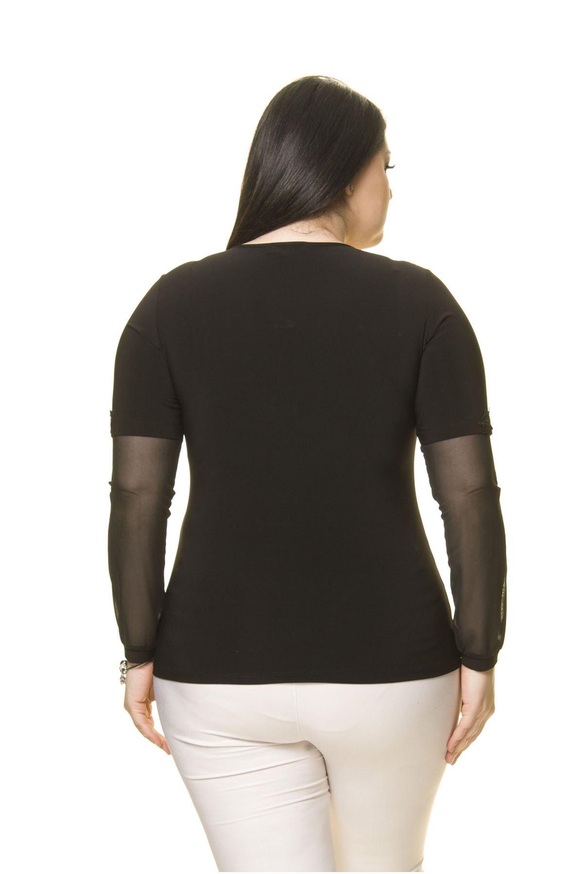 Kadın Büyük Beden Siyah Taş İşlemeli Şifon Kol Bluz A7-3029-1
