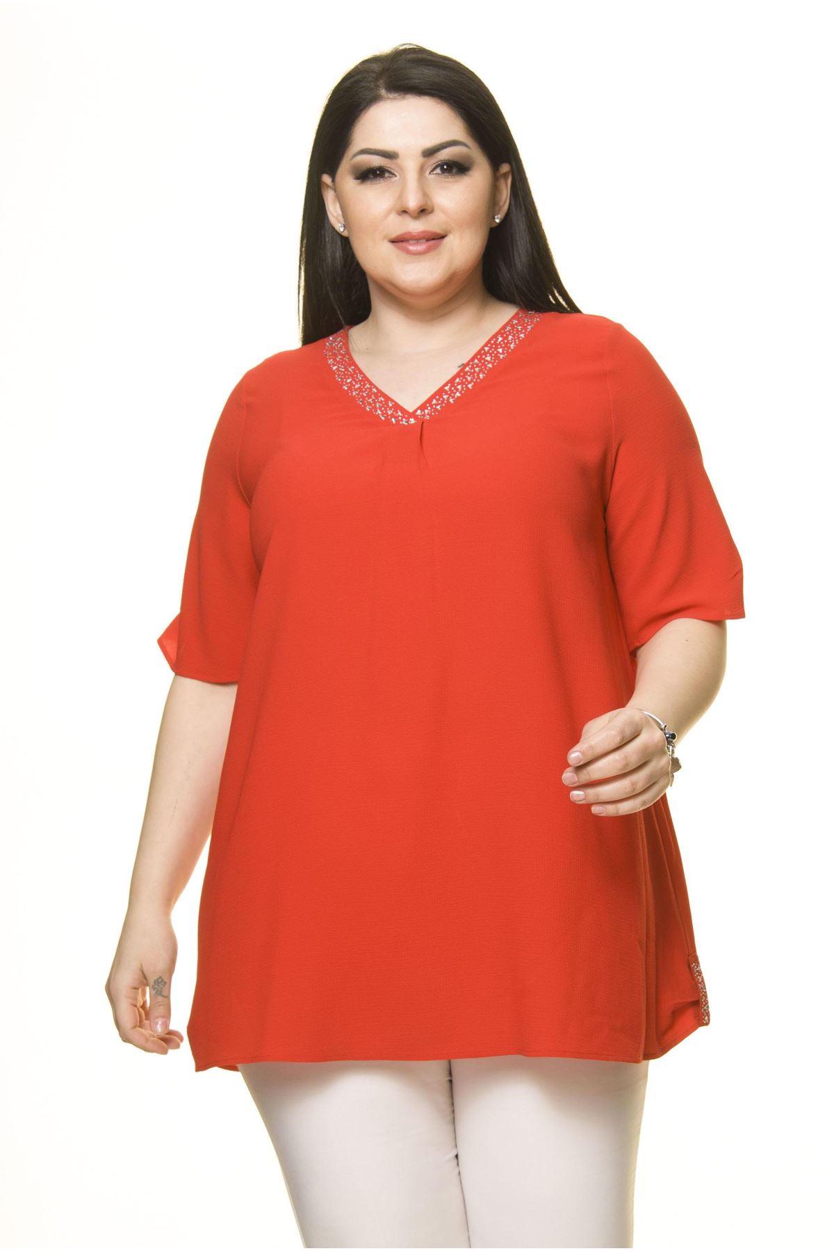 Kadın Büyük Beden Kırmızı Şifon Bluz  A6-3016-1