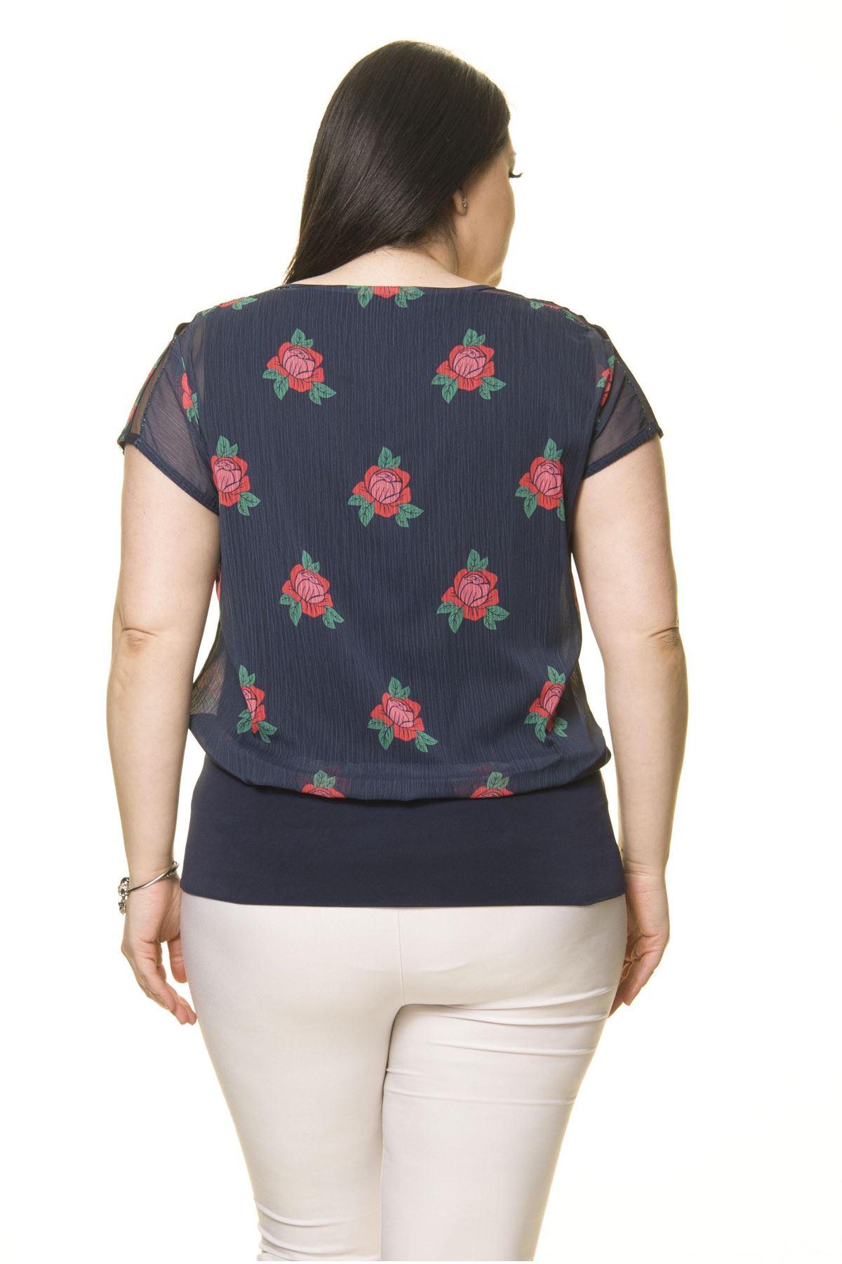 Kadın Büyük Beden Lacivert Şifon Bluz  A4-3011