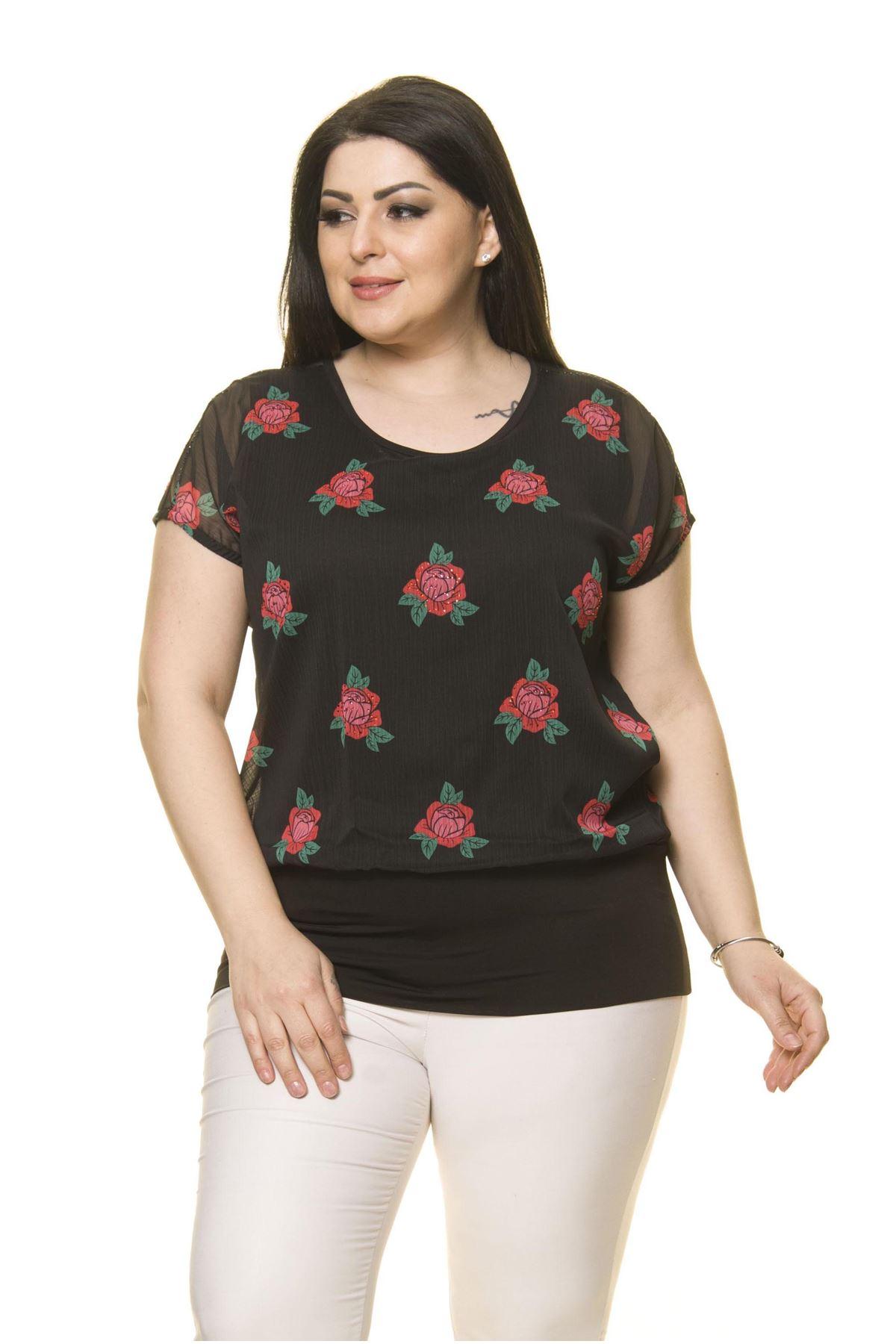 Kadın Büyük Beden Siyah Şifon Bluz  A4-3011-1