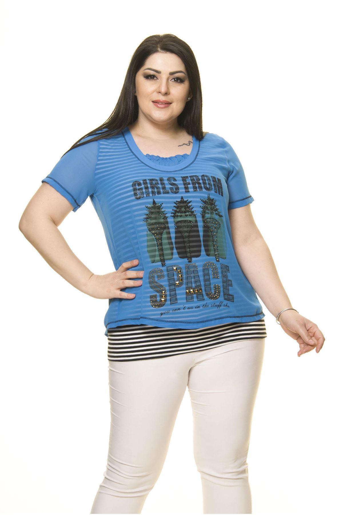 Kadın Büyük Beden Mavi Şifon Bluz  A7-3025
