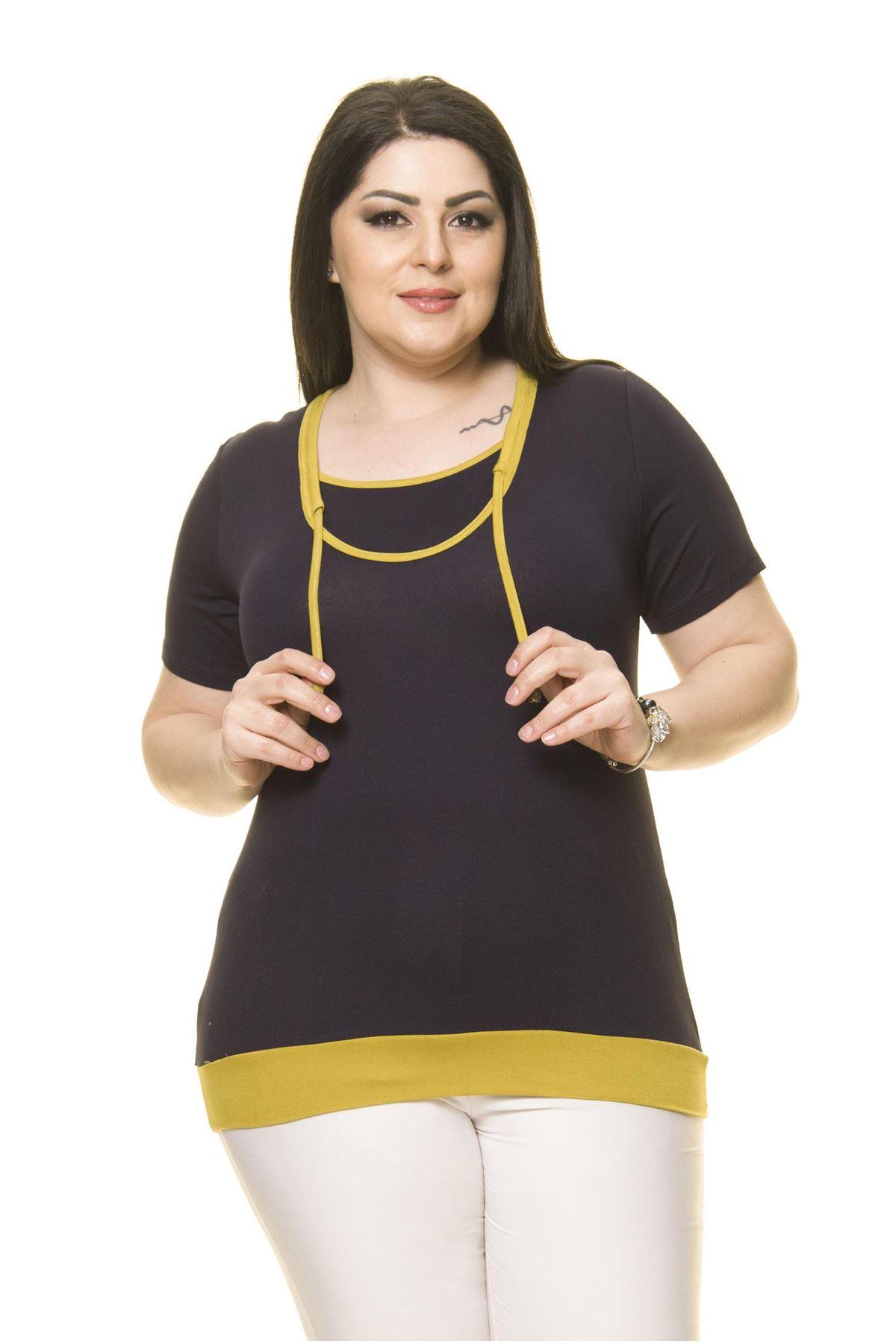 Kadın Büyük Beden Lacivert Sırt Detaylı Bluz  A7-3022