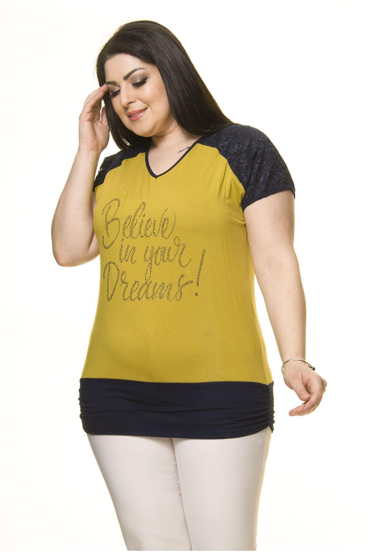 Kadın Büyük Beden Lacivert Yeşil  Bluz  A5-3013