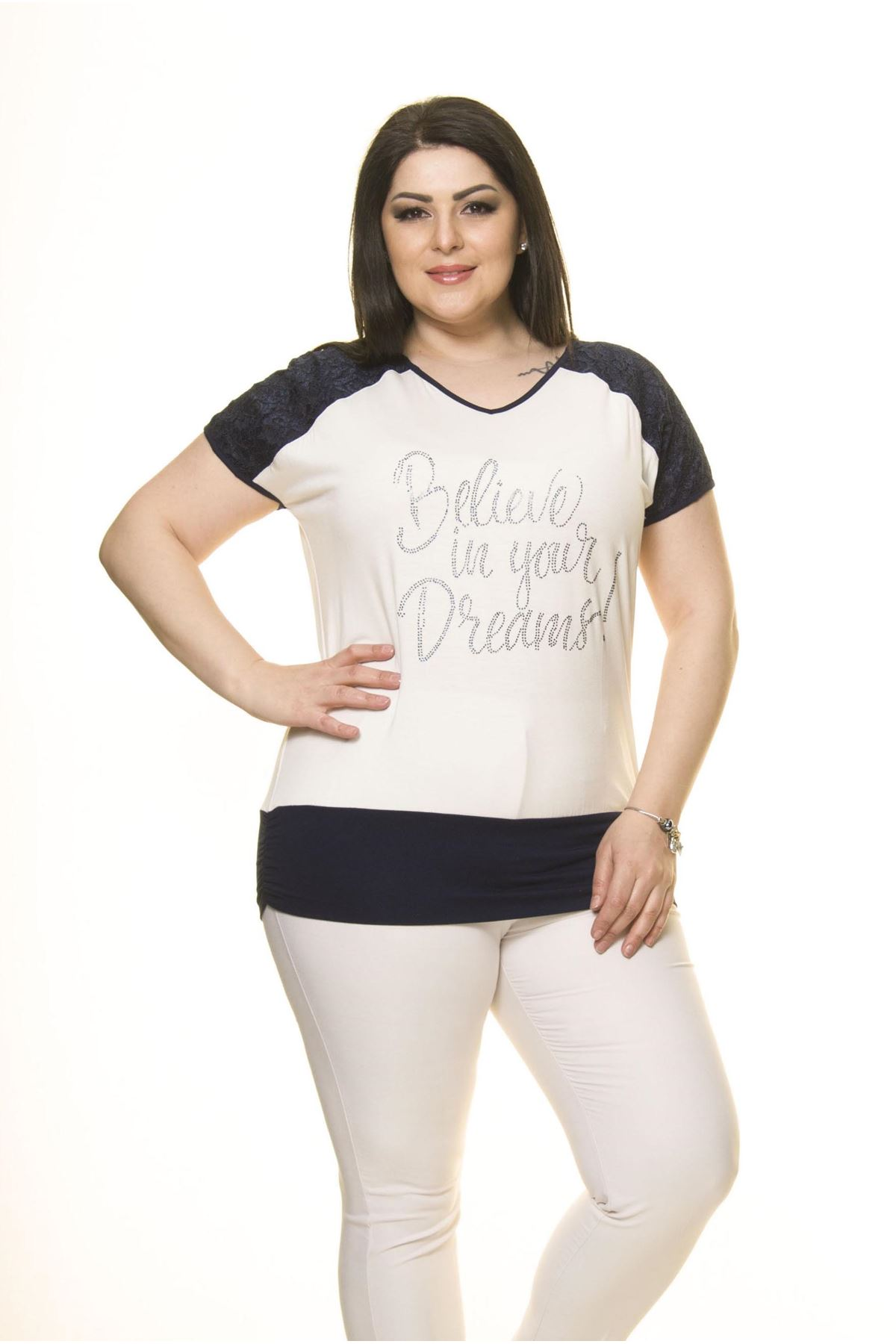 Kadın Büyük Beden Lacivert Beyaz Bluz  A5-3013-1