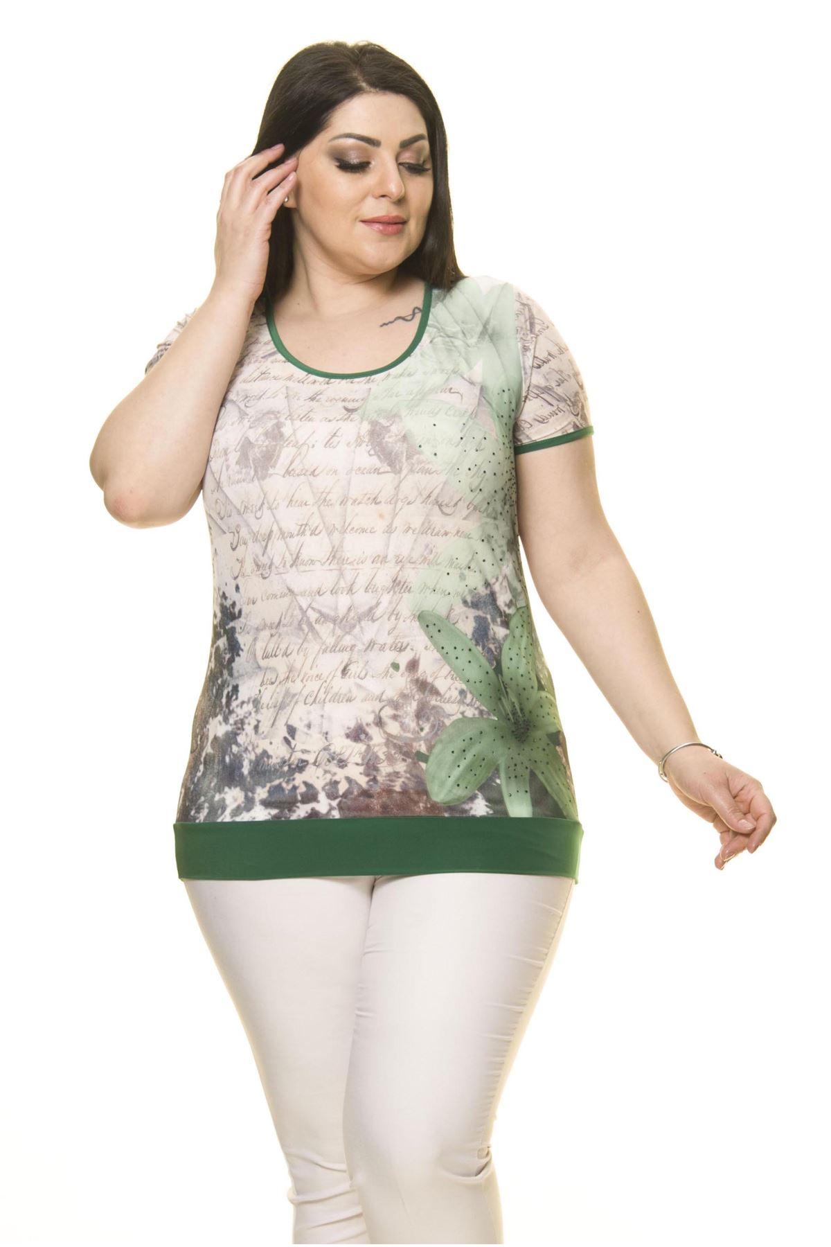 Kadın Büyük Beden Yeşil Body  A6-3018-1