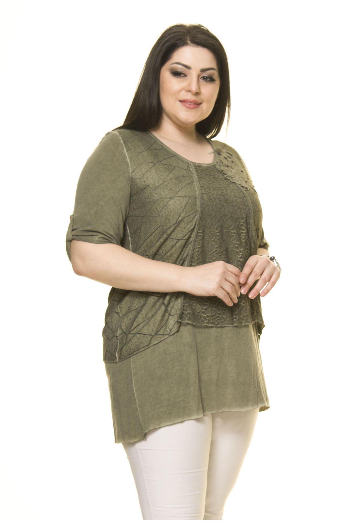 Kadın Büyük Beden Haki Bluz  A3-3008
