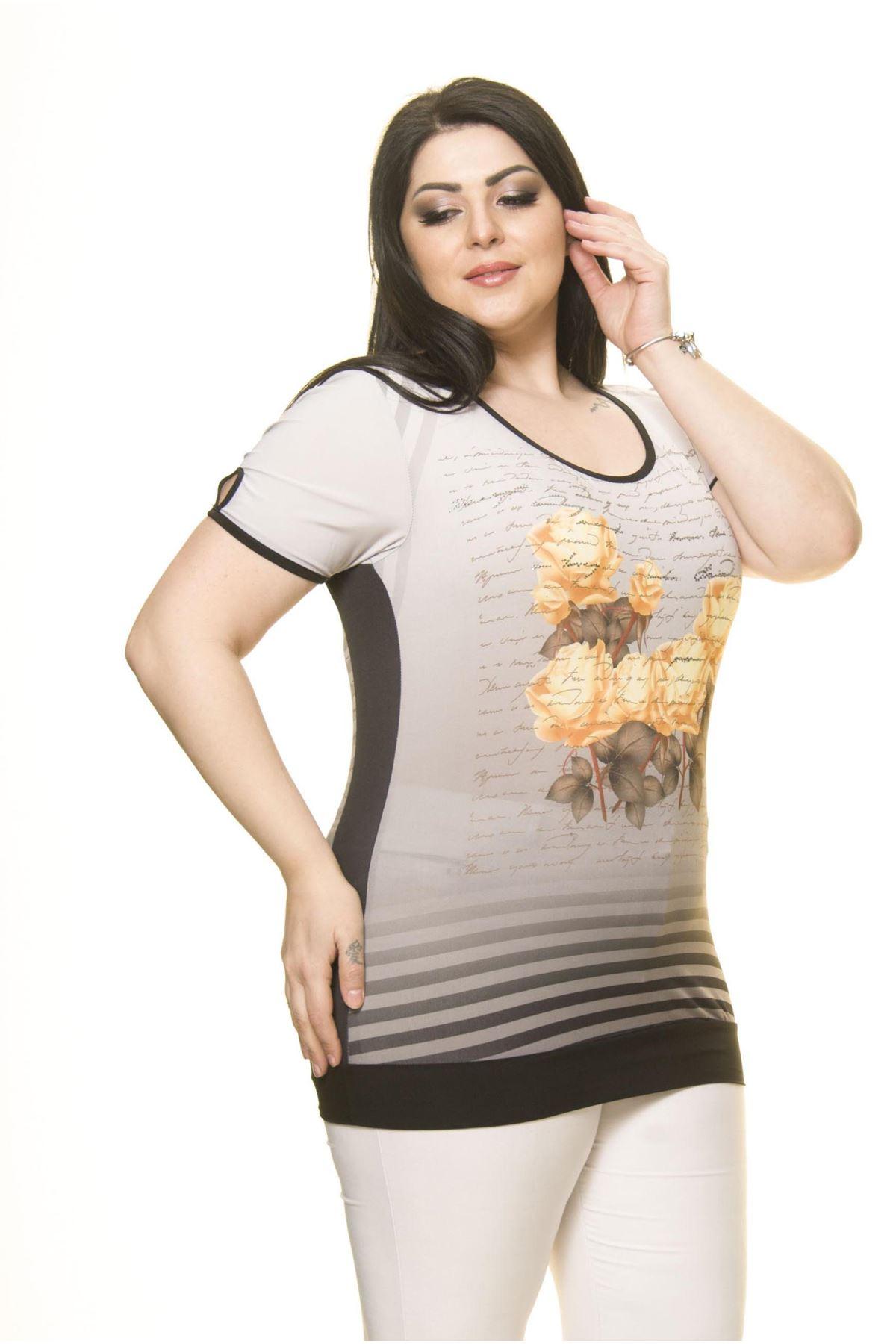 Kadın Büyük Beden Gri Çiçekli Body  A6-3015
