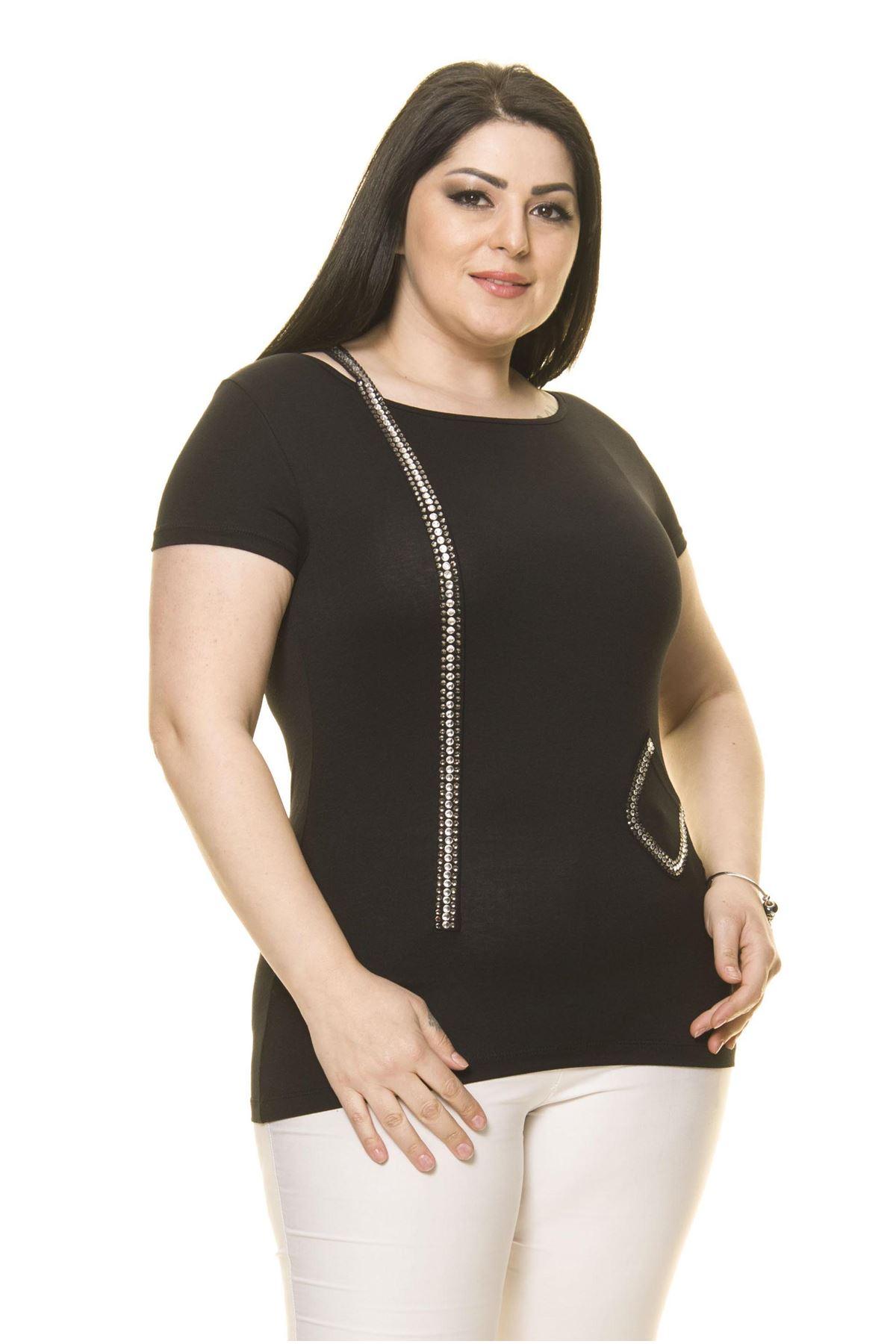 Kadın Büyük Beden Siyah Taşlı Bluz 15C-70017