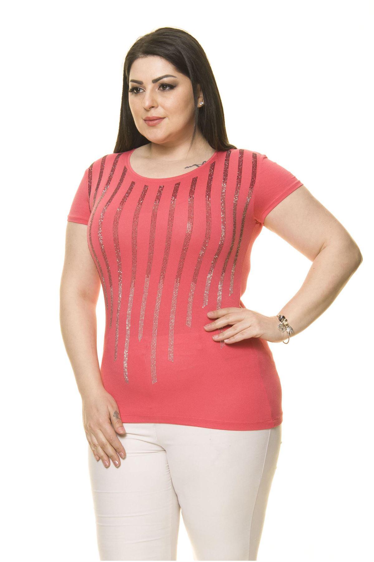 Kadın Büyük Beden Pembe Taş İşlemeli Bluz 17E-70014