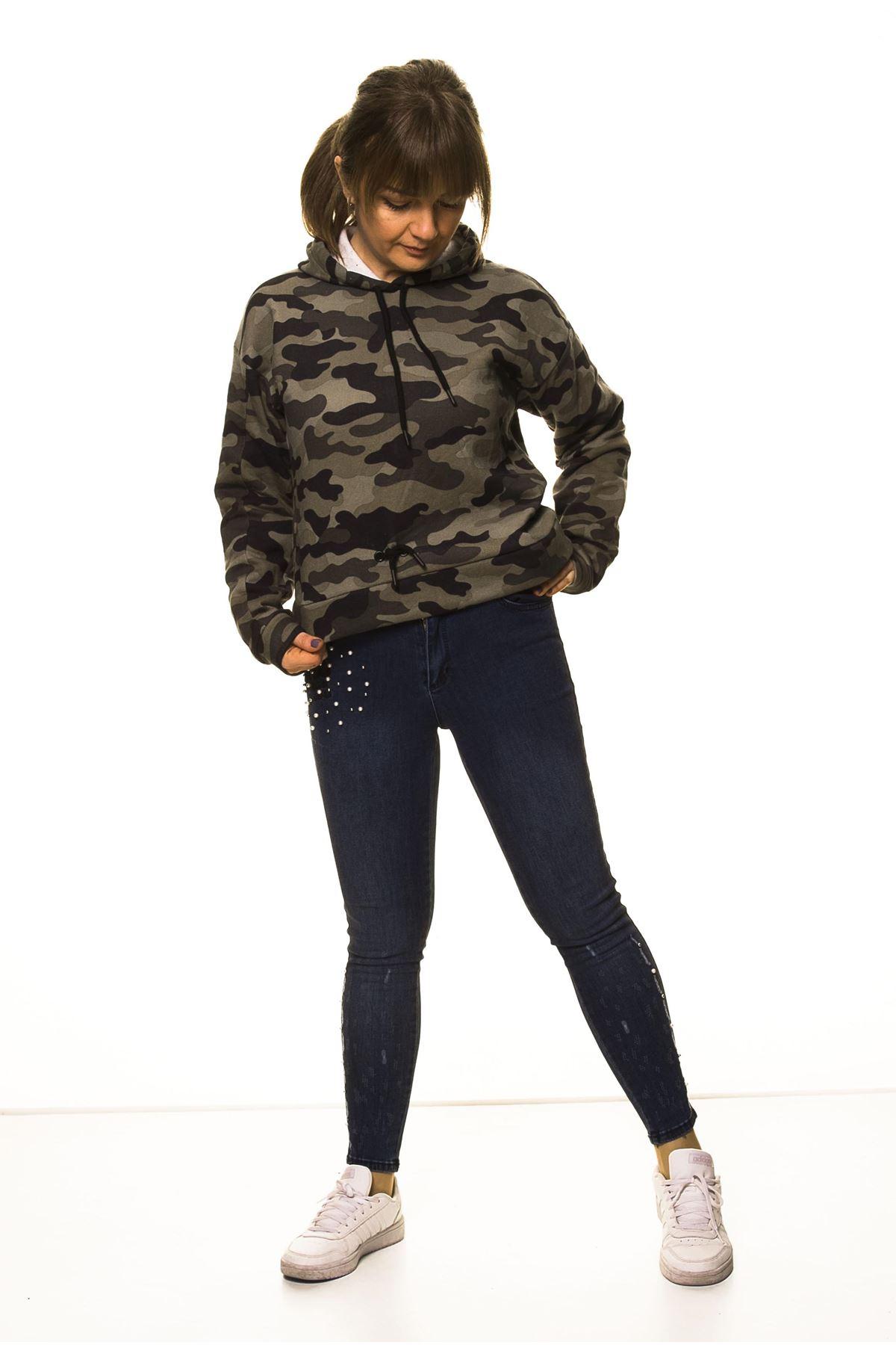Kadın Kamuflaj Kapüşonlu Boyfriend  Sweatshirt 14C-3004-1