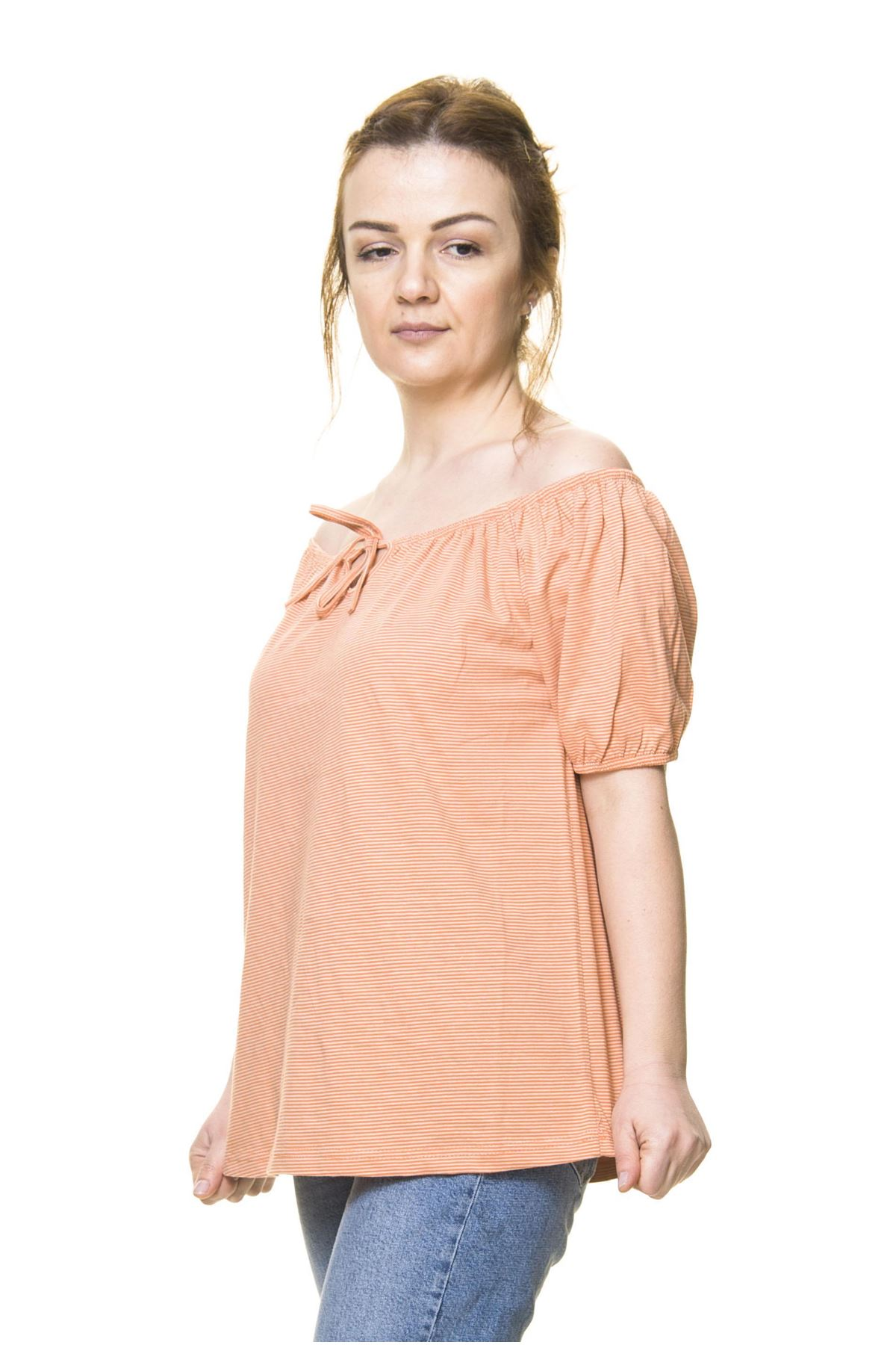 Kadın Turuncu Pamuklu Penye Bluz 5D-3044